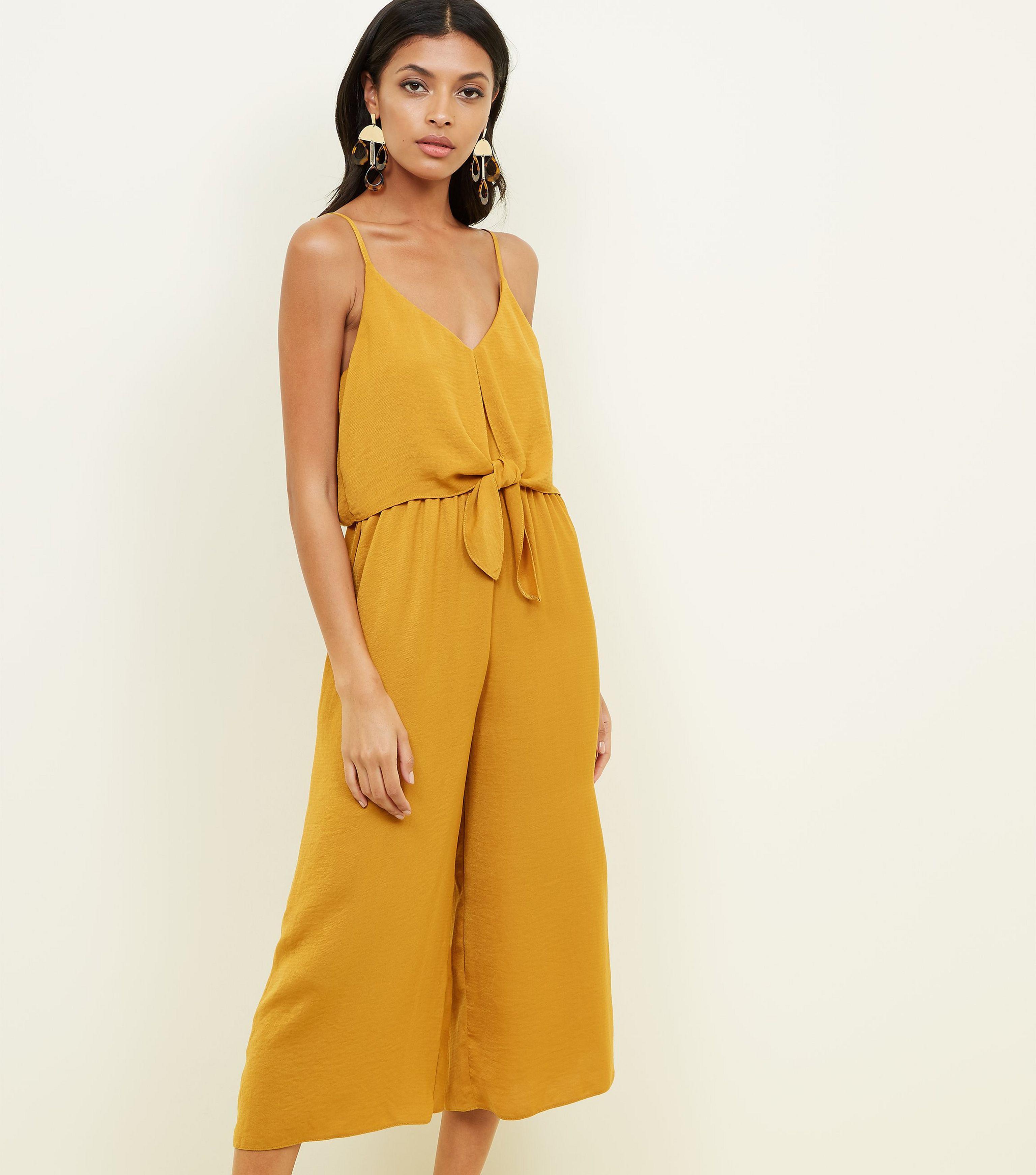 8d7c107077d3 New Look Mustard Tie Front Linen-look Jumpsuit in Yellow - Lyst