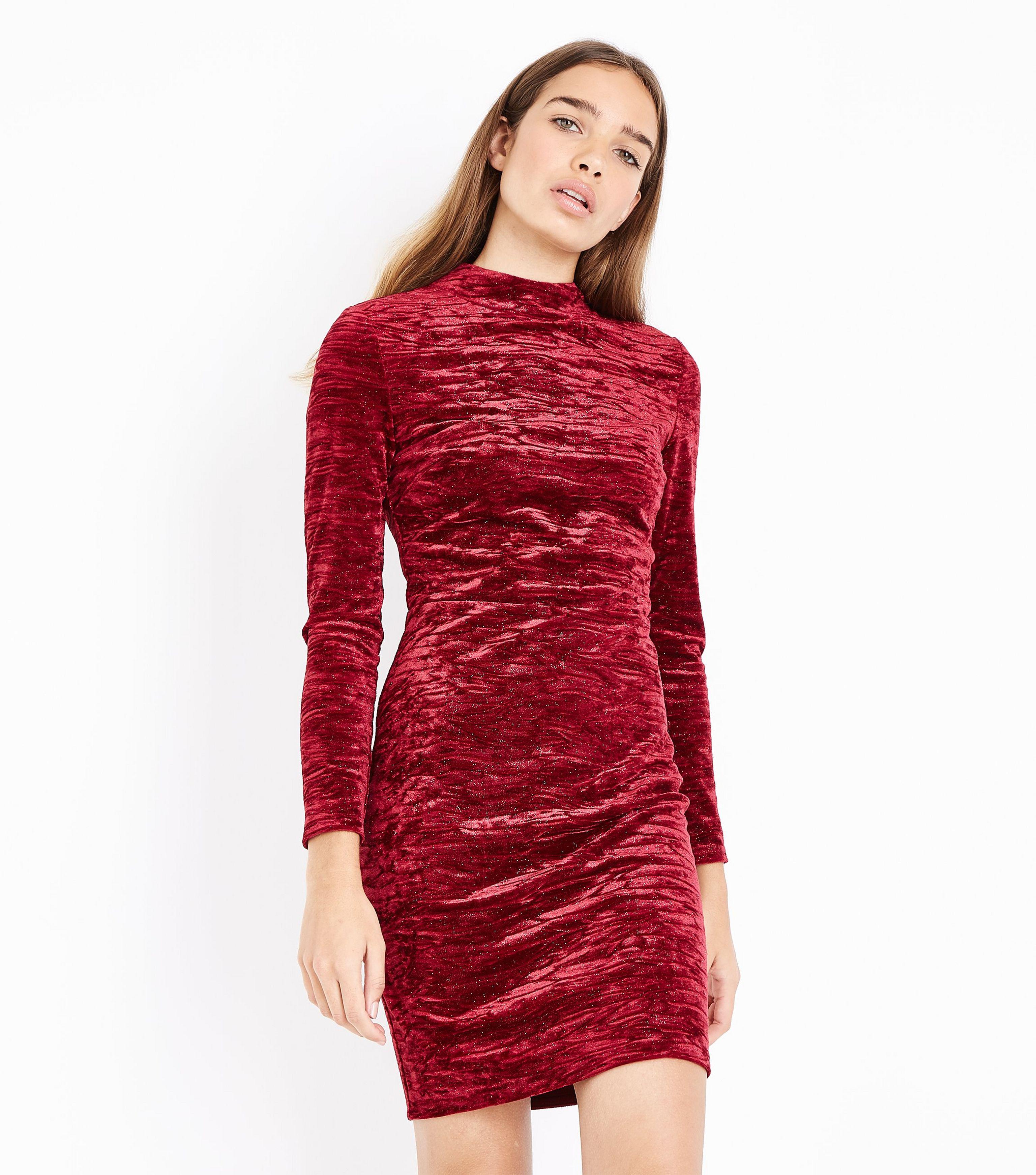 db0e96c7cd10 New Look Red Glitter Velvet Wrap Back Dress in Red - Lyst