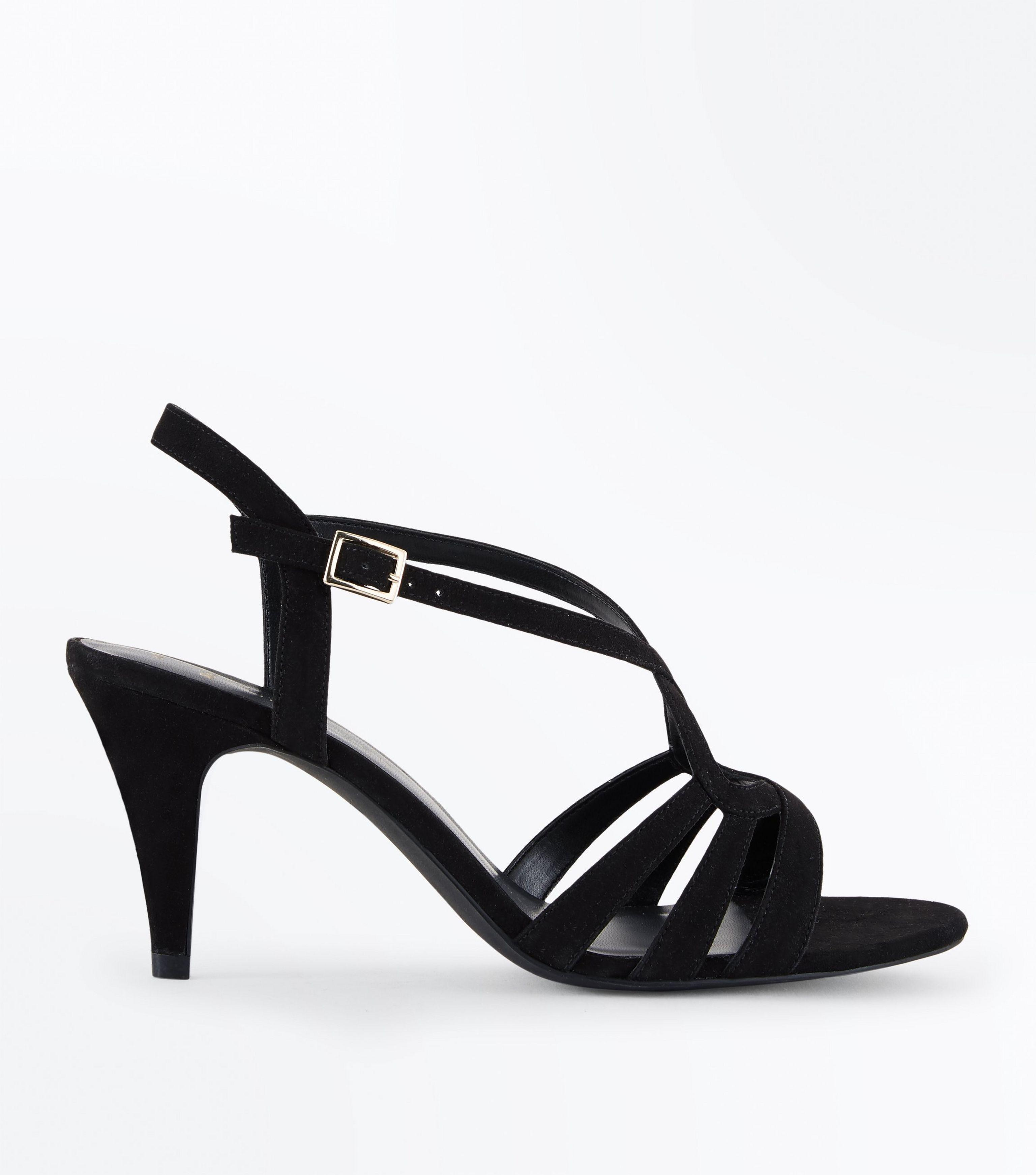 a7be0ca2ef New Look Wide Fit Black Suedette Strappy Heeled Sandals in Black - Lyst