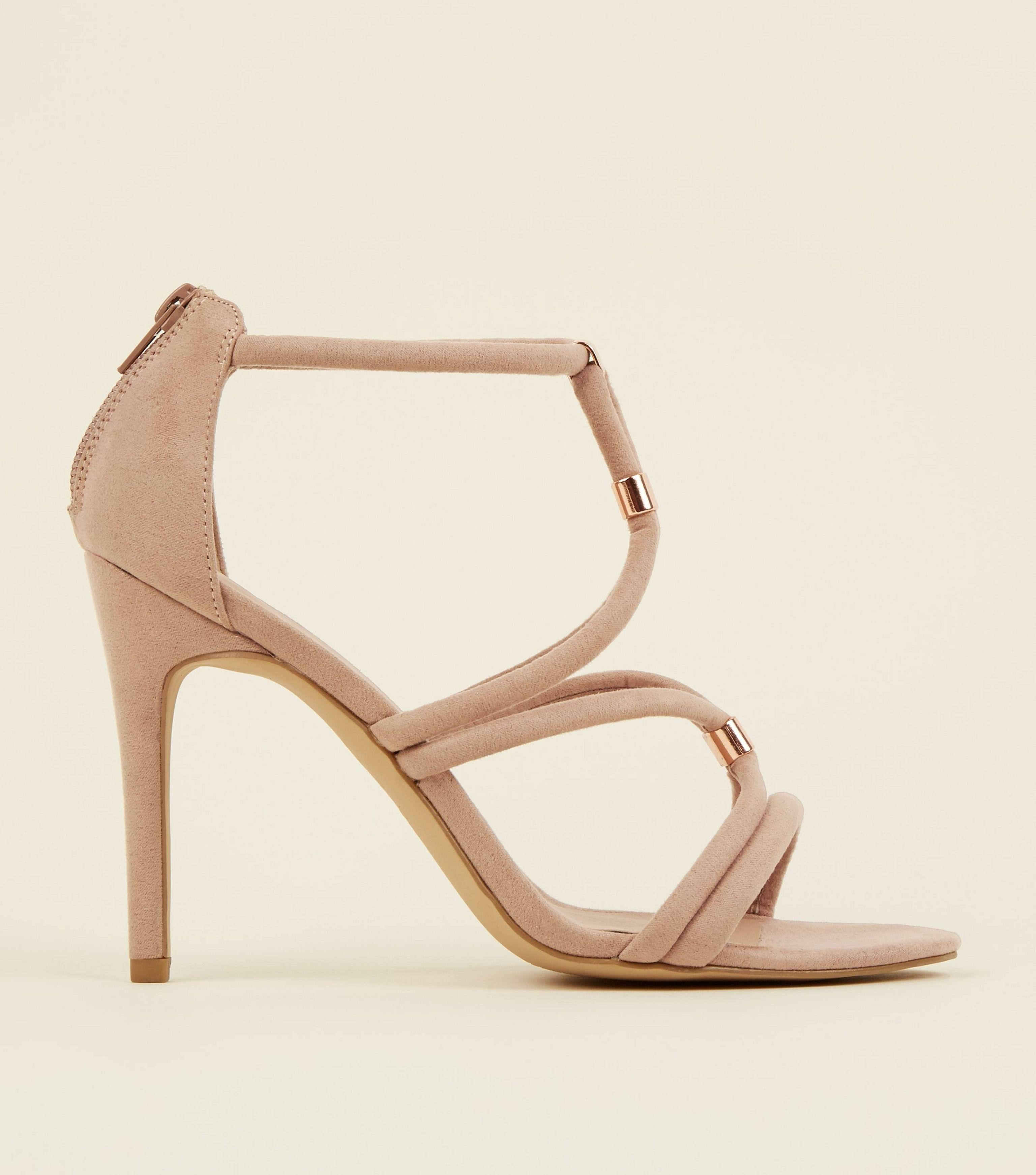 5de758722cbd93 New Look Cream Suedette Metal Tube Strap Stiletto Sandals in Natural ...