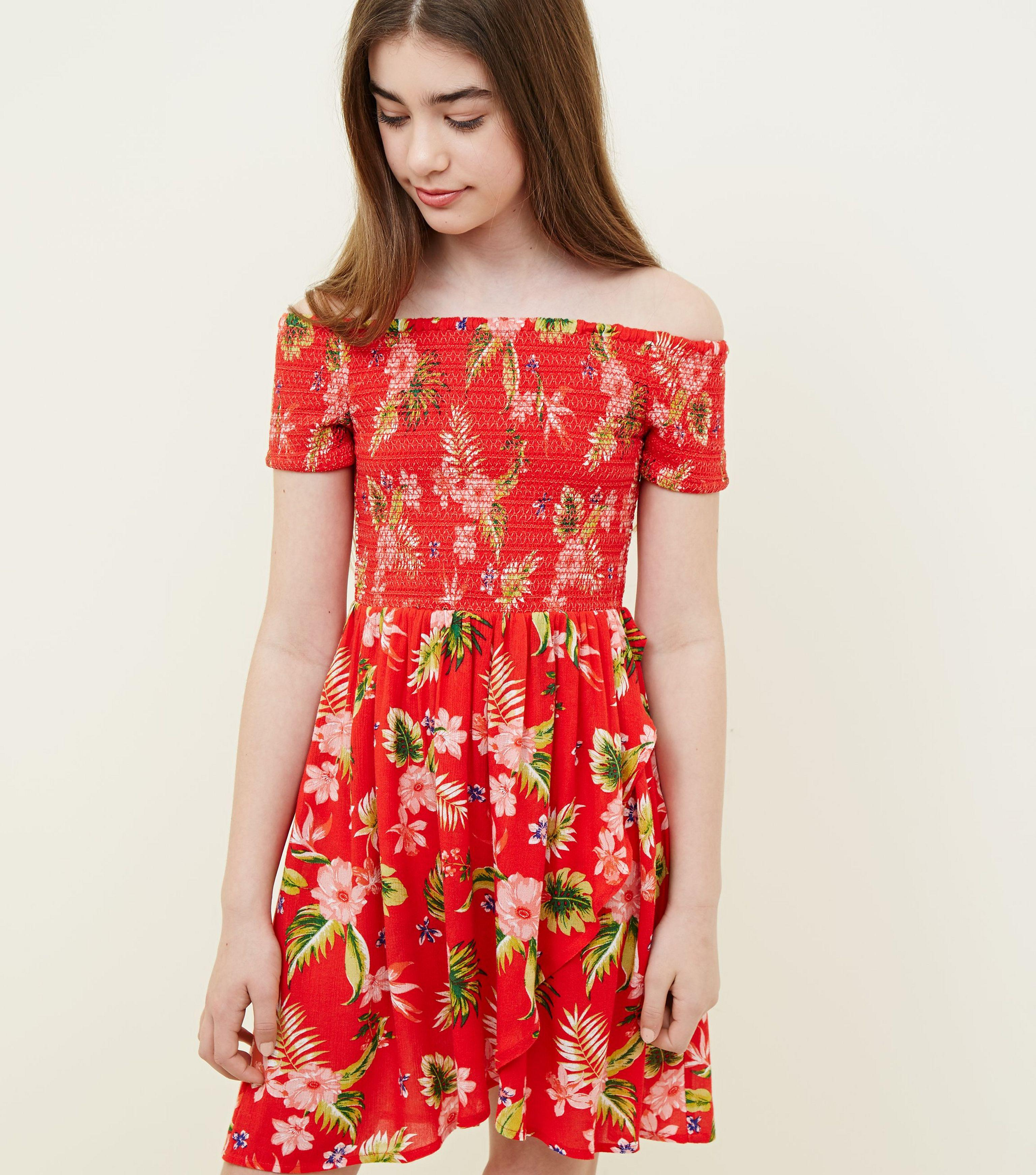 685f0c6f8bde New Look Girls Red Tropical Floral Print Bardot Dress in Red - Lyst