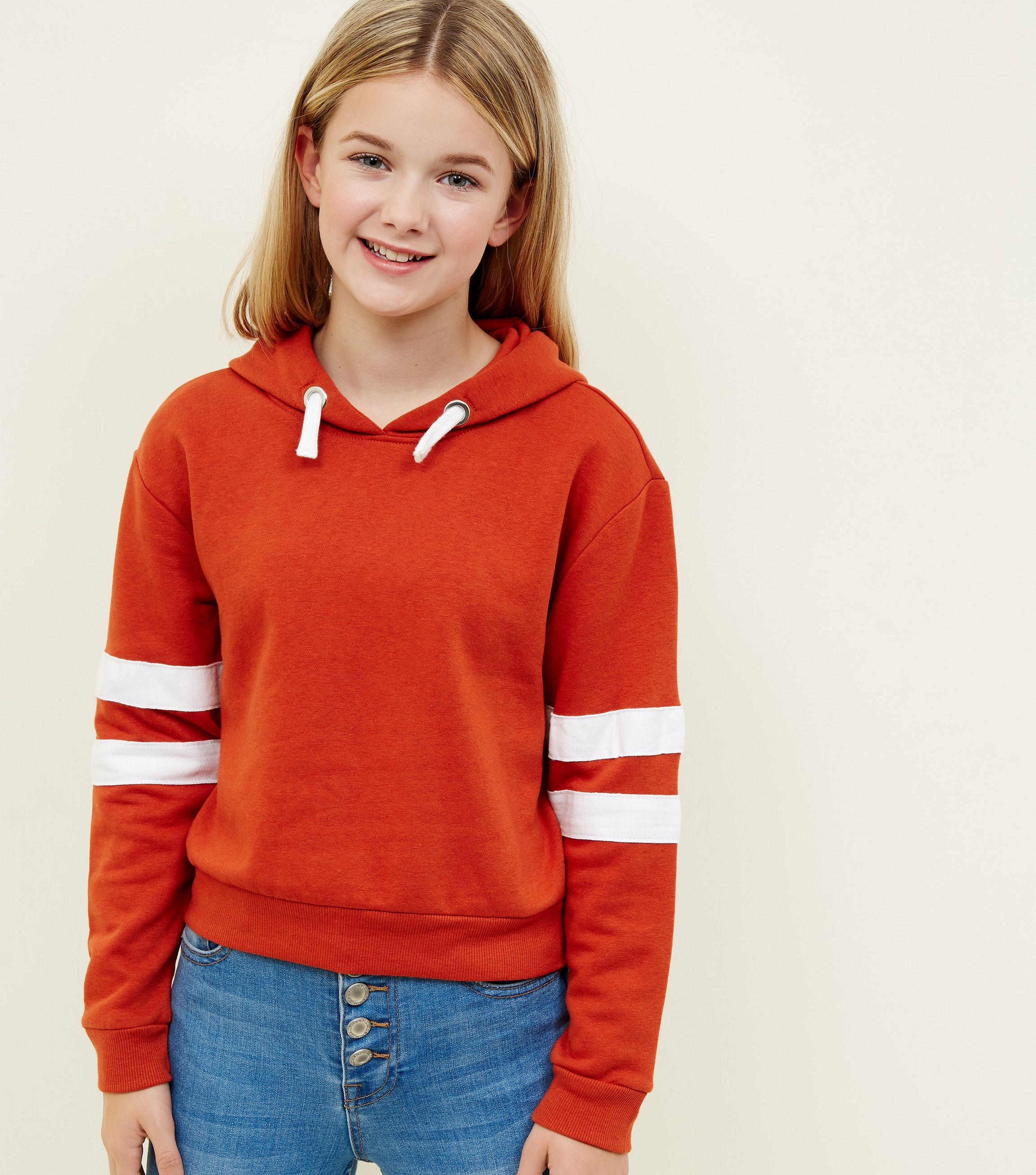 25bdc4a8cc6 New Look Girls Orange Stripe Sleeve Hoodie in Orange - Lyst