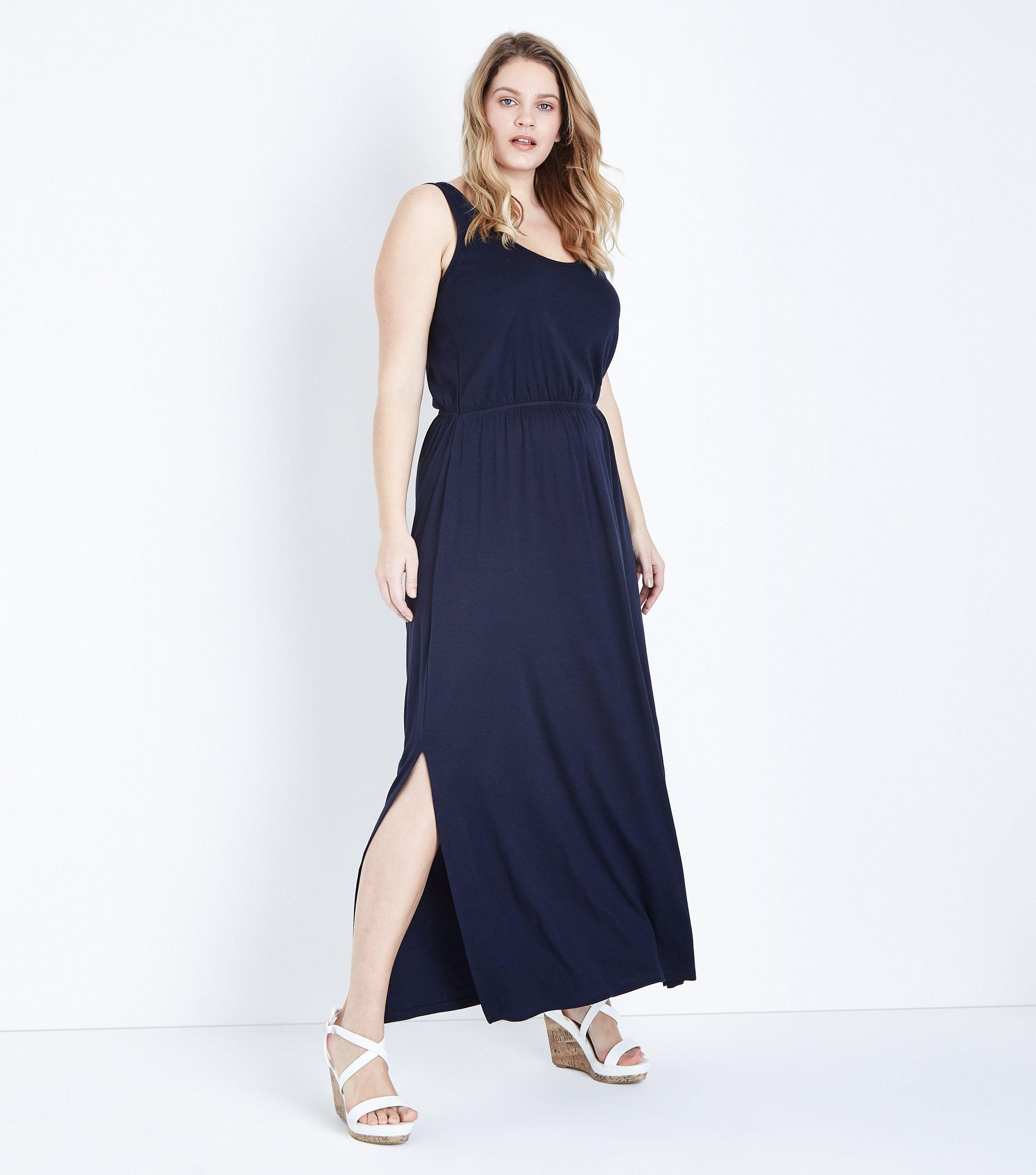 0b9ef5bb4e New Look Curves Navy Sleeveless Jersey Maxi Dress in Blue - Lyst