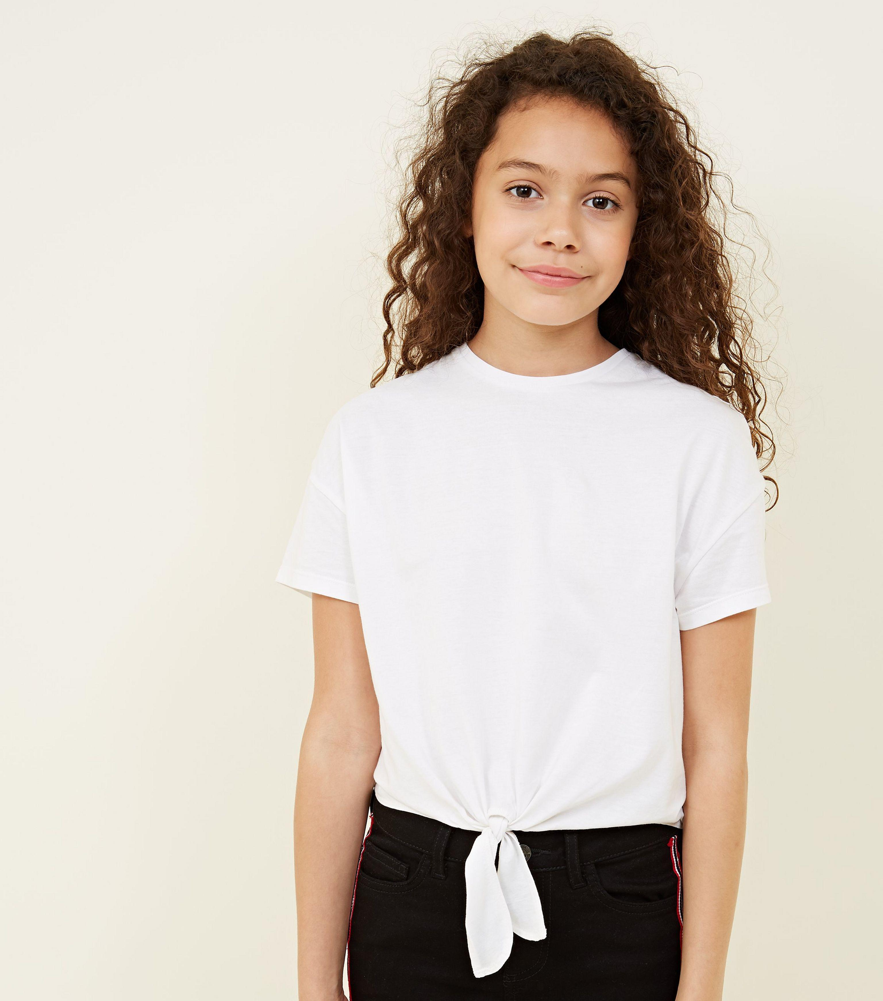 95946a9bdd8b5 New Look Girls White Tie Front T-shirt in White - Lyst
