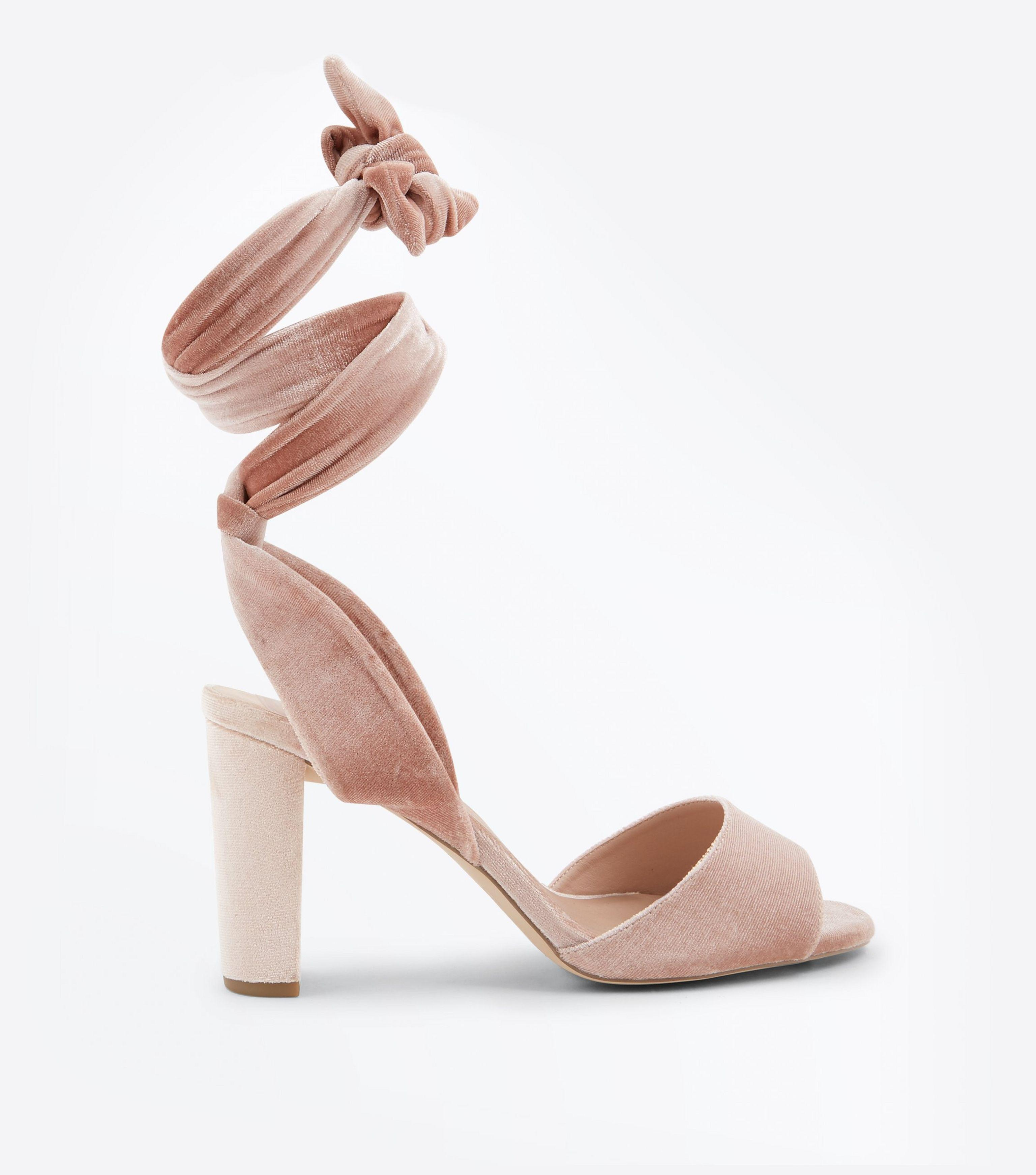 9a181fbf49a5e2 New Look Wide Fit Pink Velvet Tie Up Block Heel Sandals in Pink - Lyst