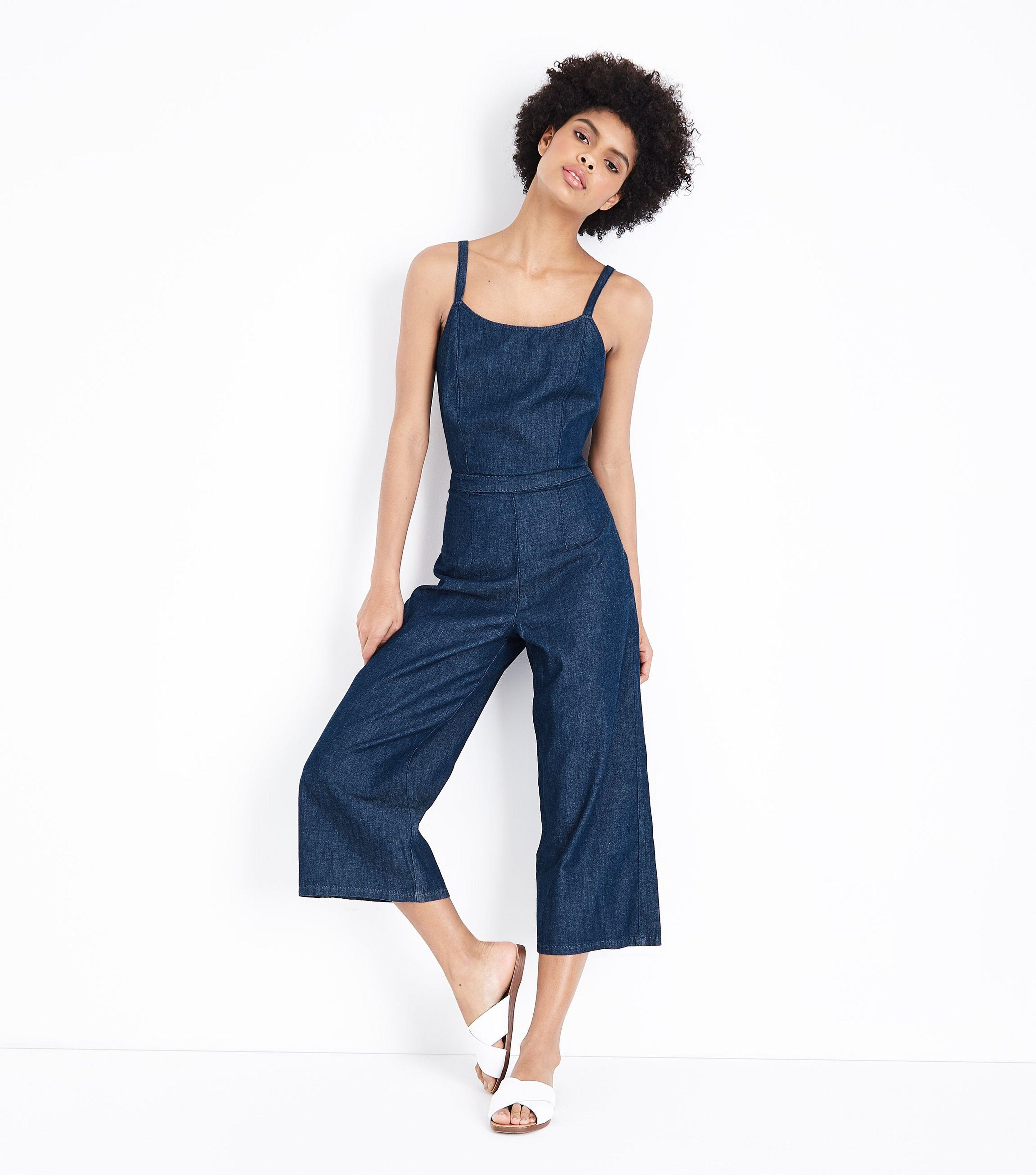 e6c483117aa7 New Look Blue Tie Back Lightweight Denim Jumpsuit in Blue - Lyst
