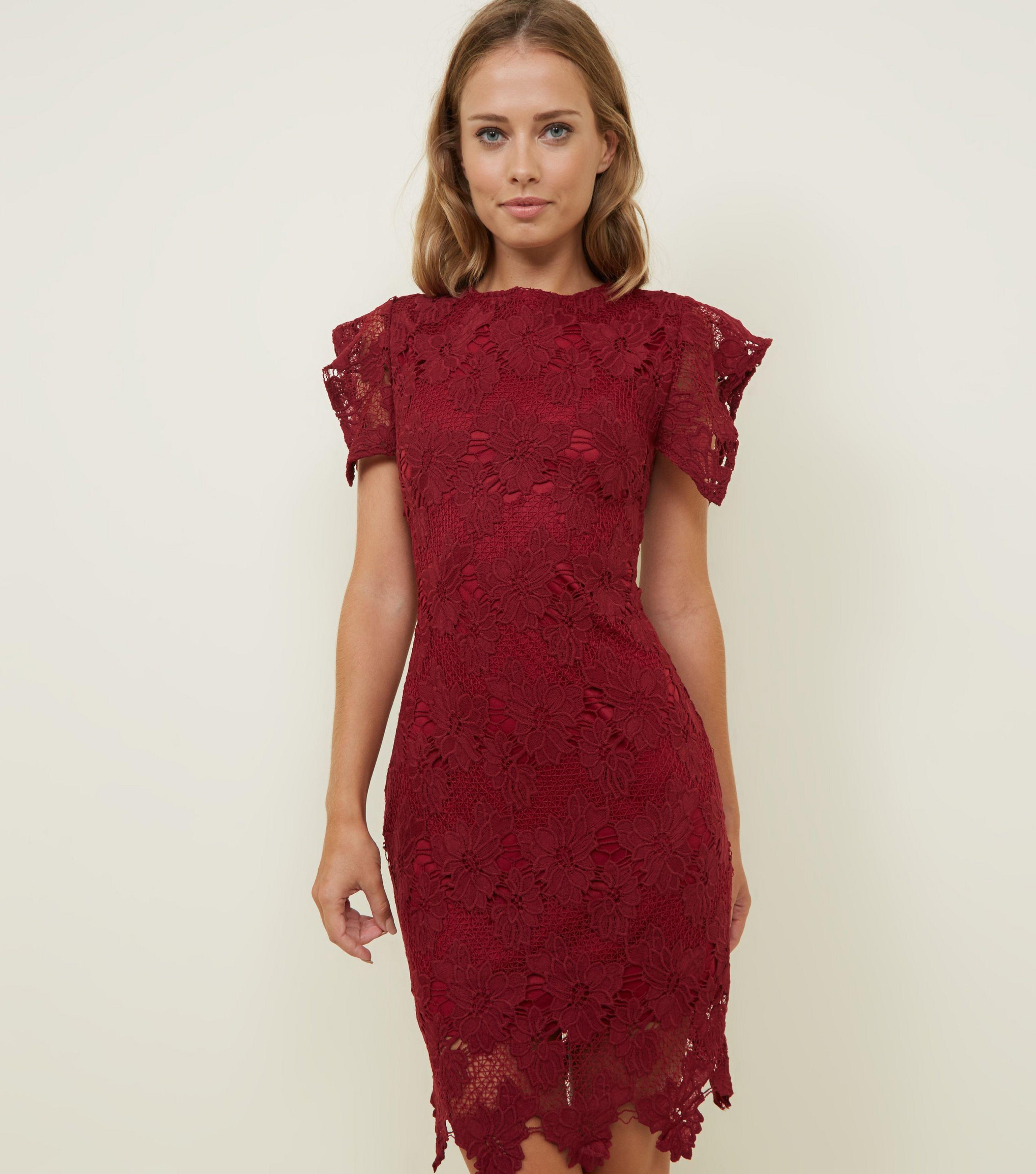 3fdda0c2ac AX Paris Burgundy Crochet Lace Bodycon Dress in Red - Lyst