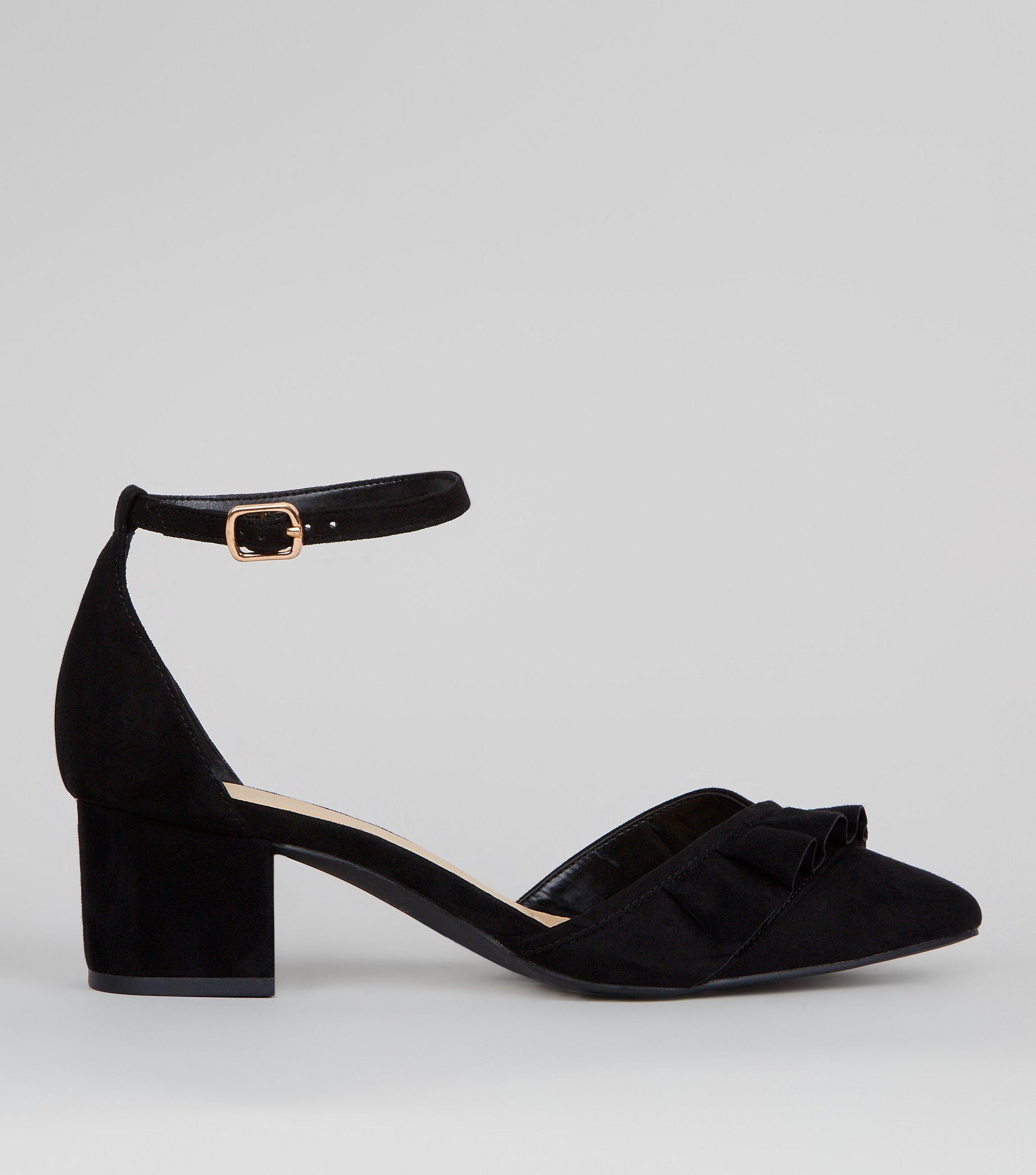 17801397219 New Look Wide Fit Black Frill Trim Mini Block Heels in Black - Lyst