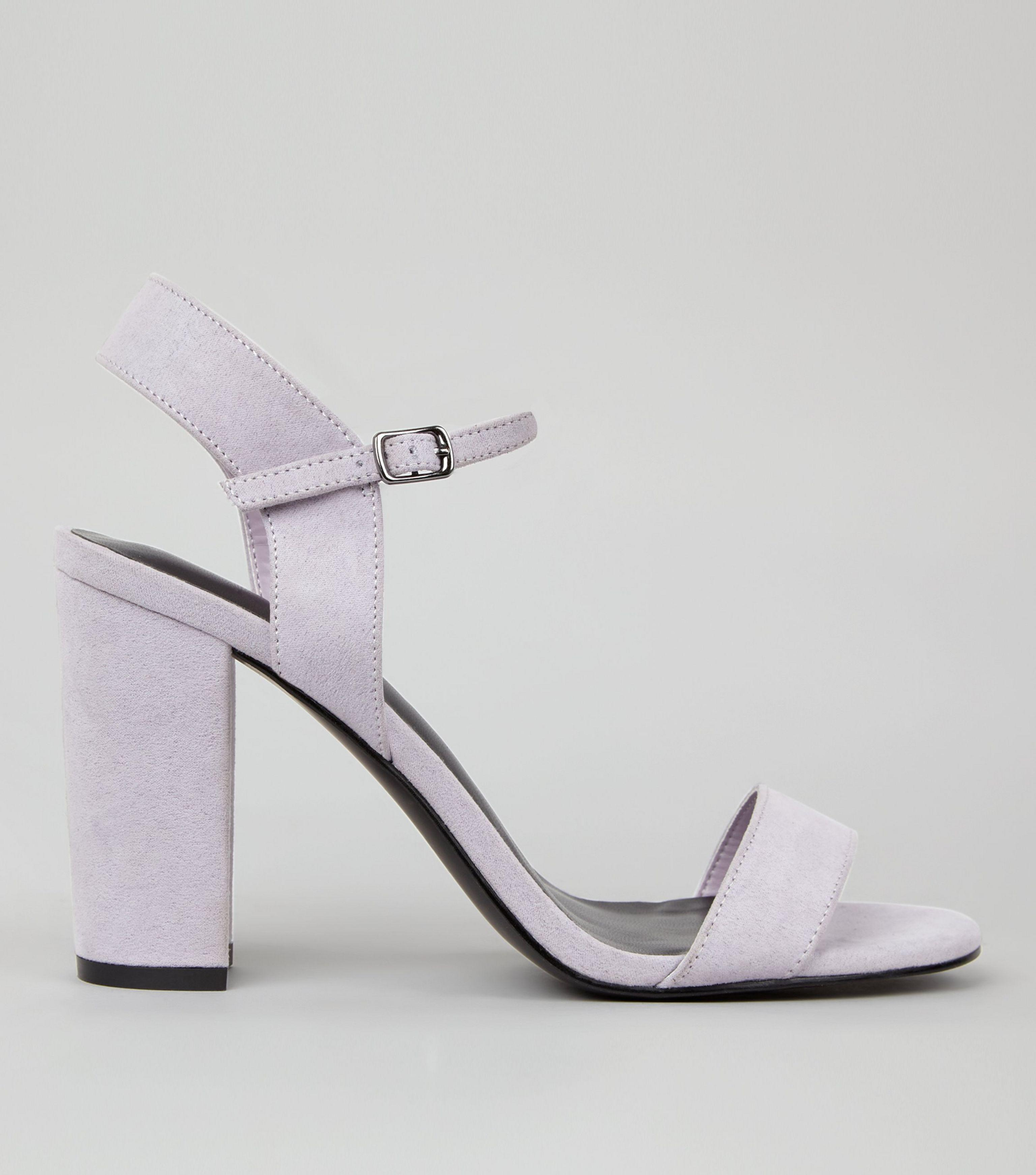 New Look Lilac Suedette Block Heel Ankle Strap Sandals In