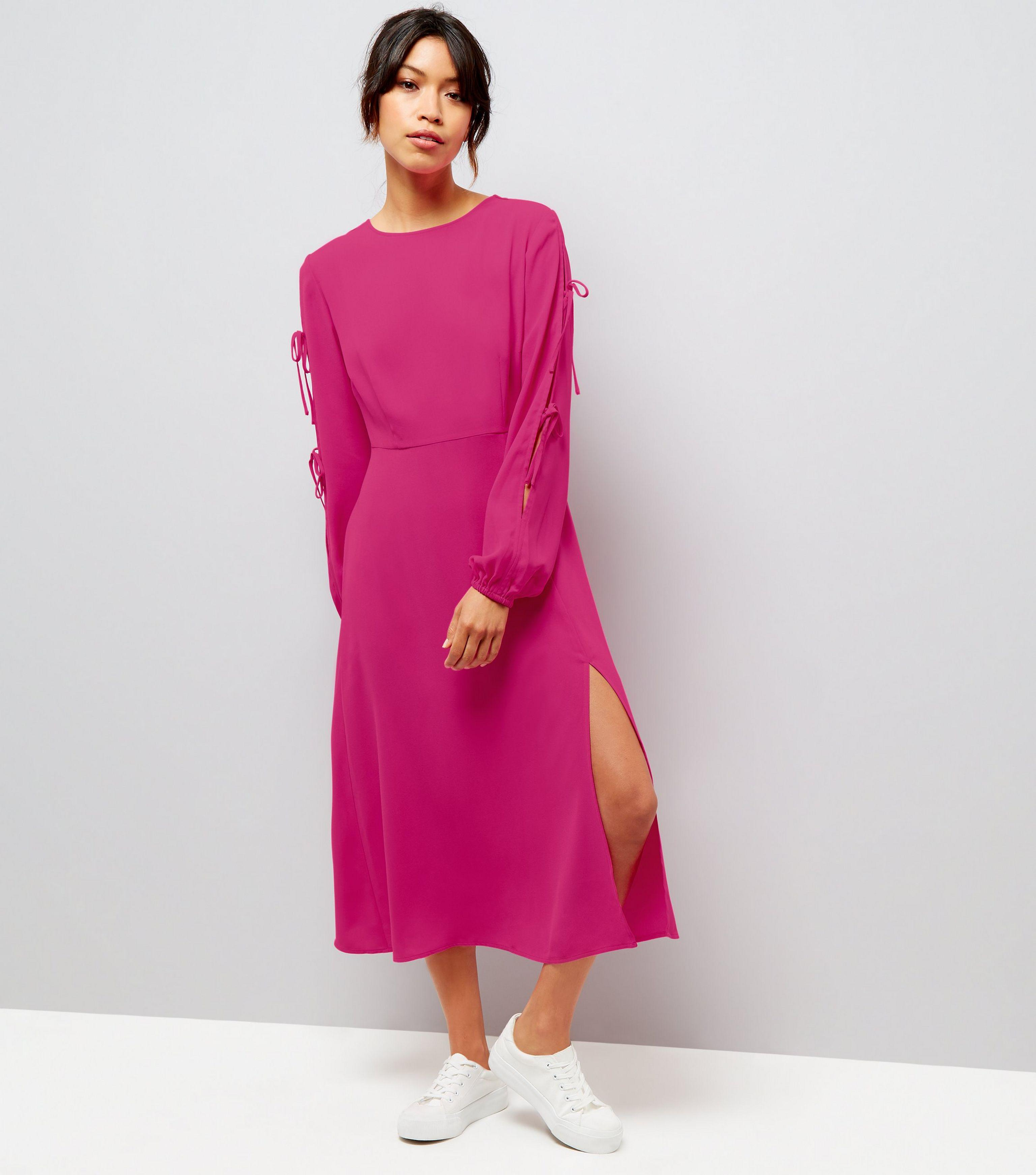 7449193145c4 New Look Bright Pink Tie Sleeve Split Side Midi Dress in Pink - Lyst