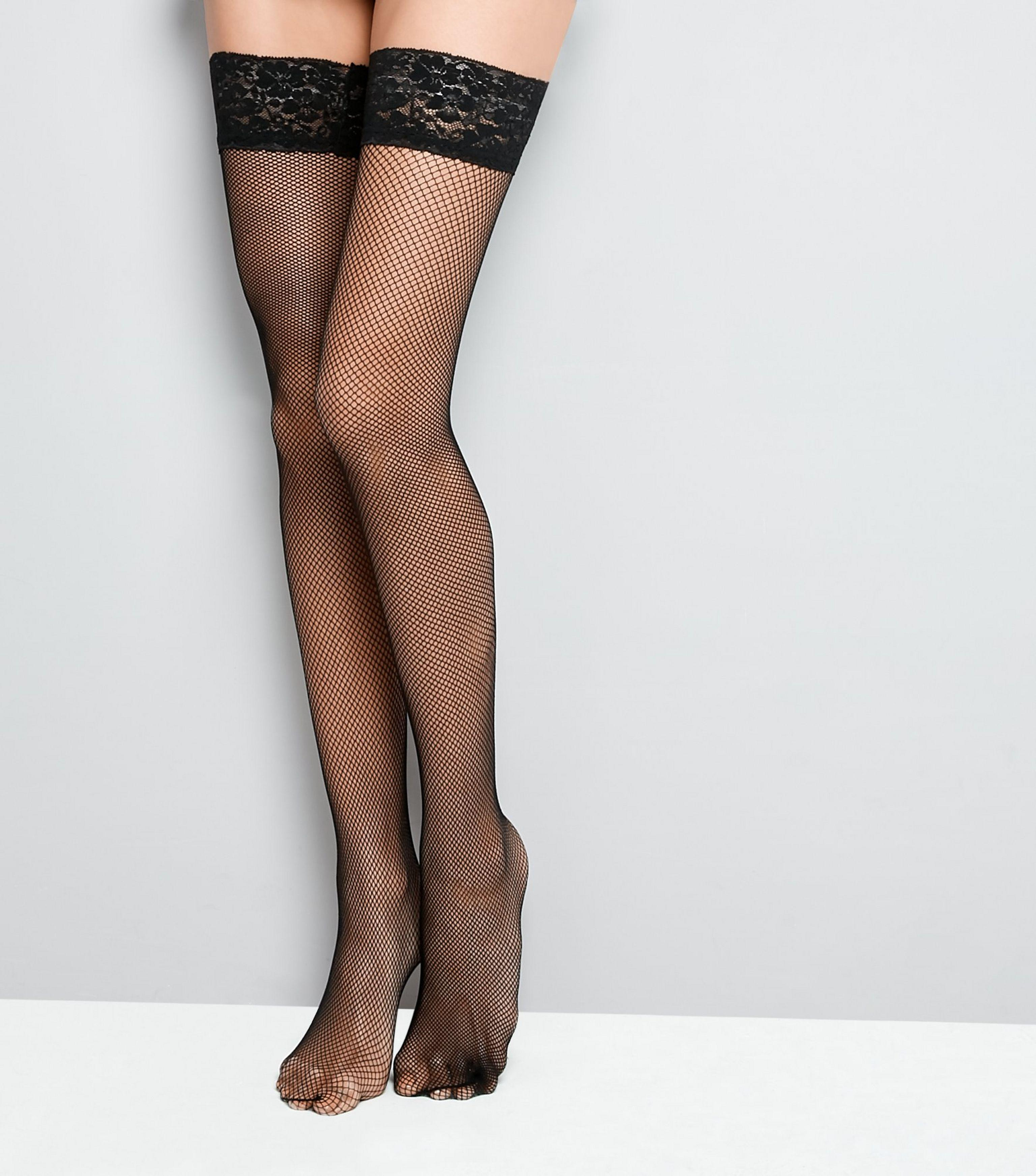 851115ba49c New Look Black Fishnet Lace Trim Hold Up Stockings in Black - Lyst