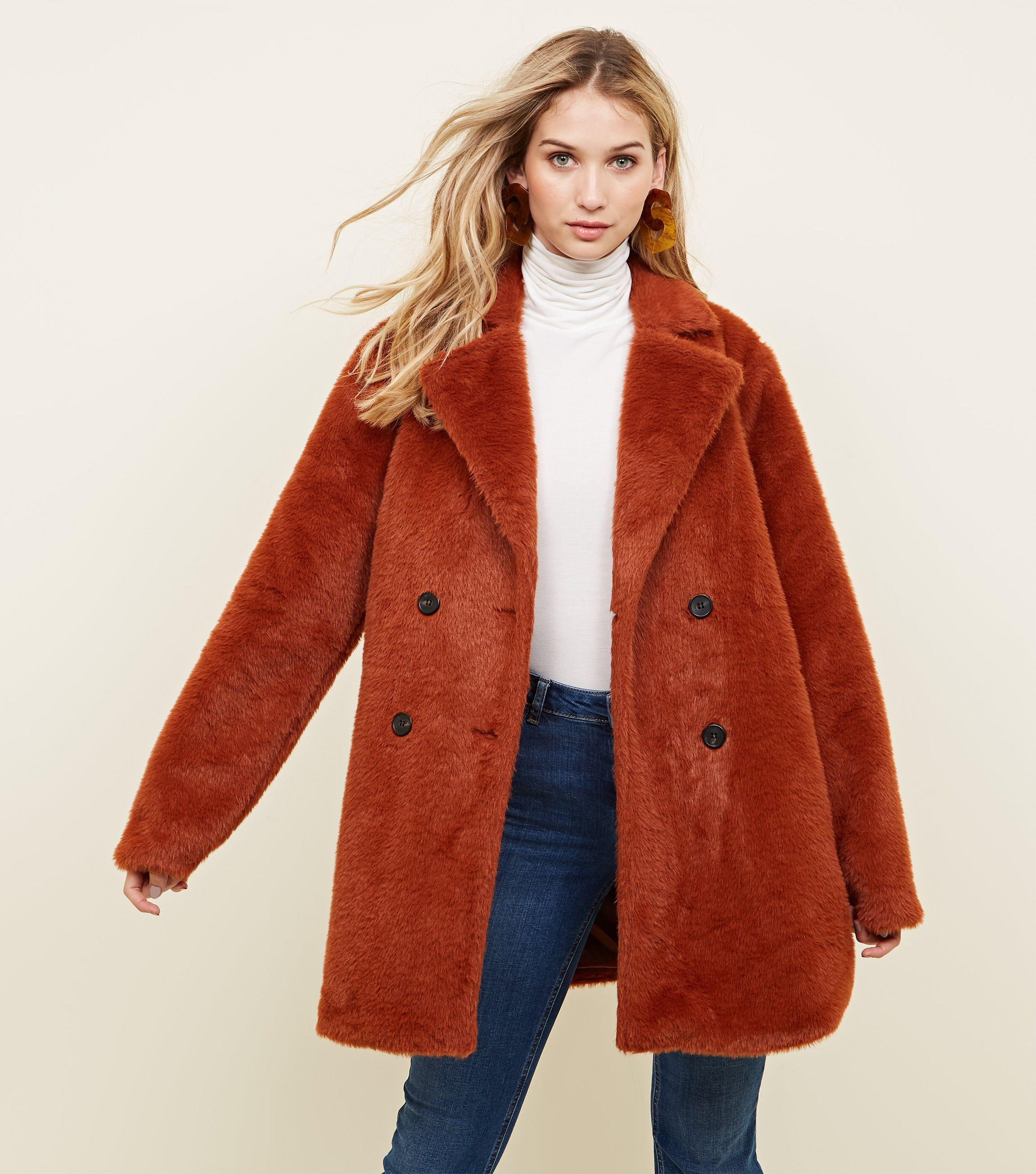 93b798550478 New Look Rust Fluffy Faux Fur Double Breasted Coat - Lyst