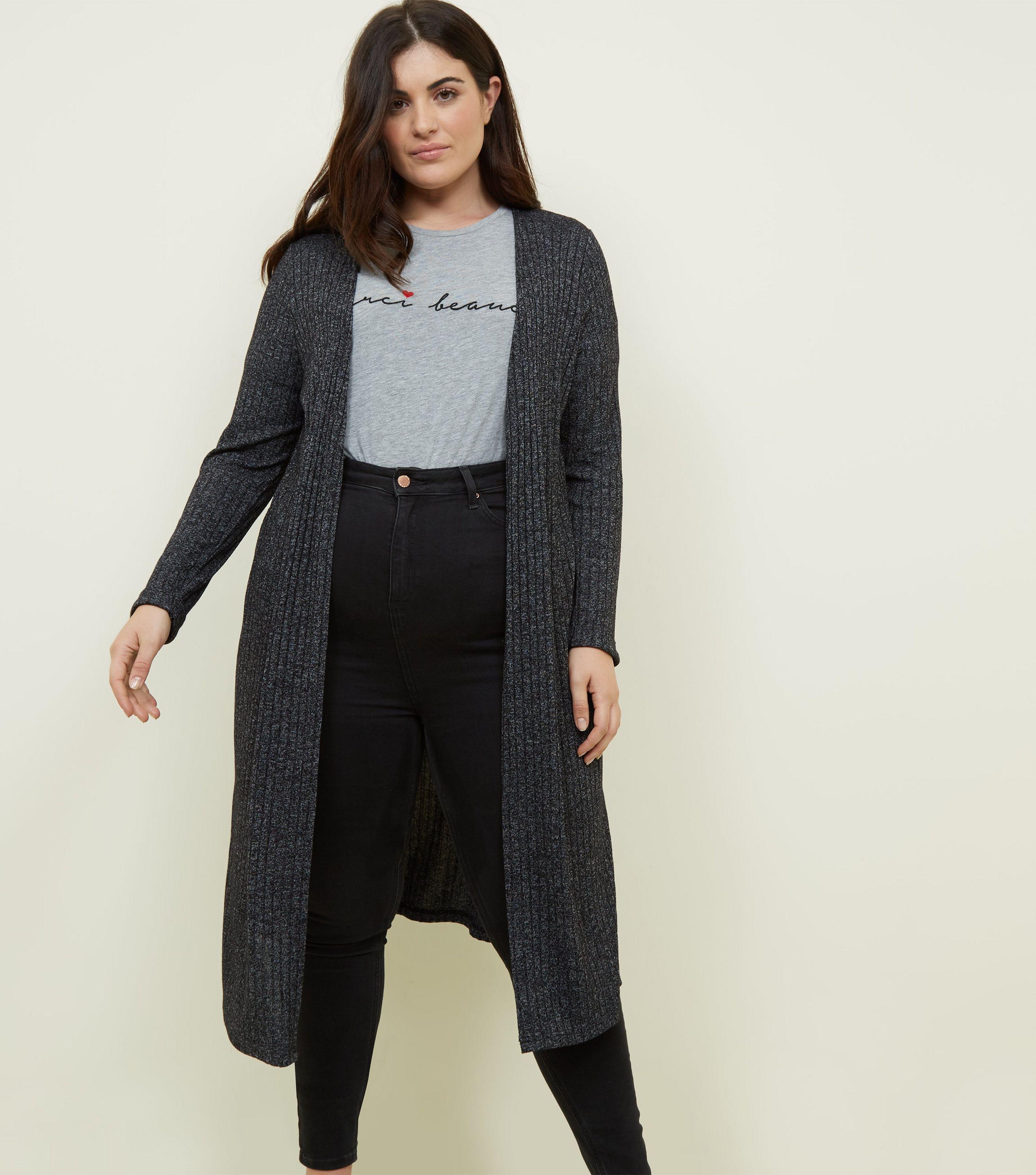 828ab1471294 New Look Curves Black Midi Cardigan in Black - Lyst
