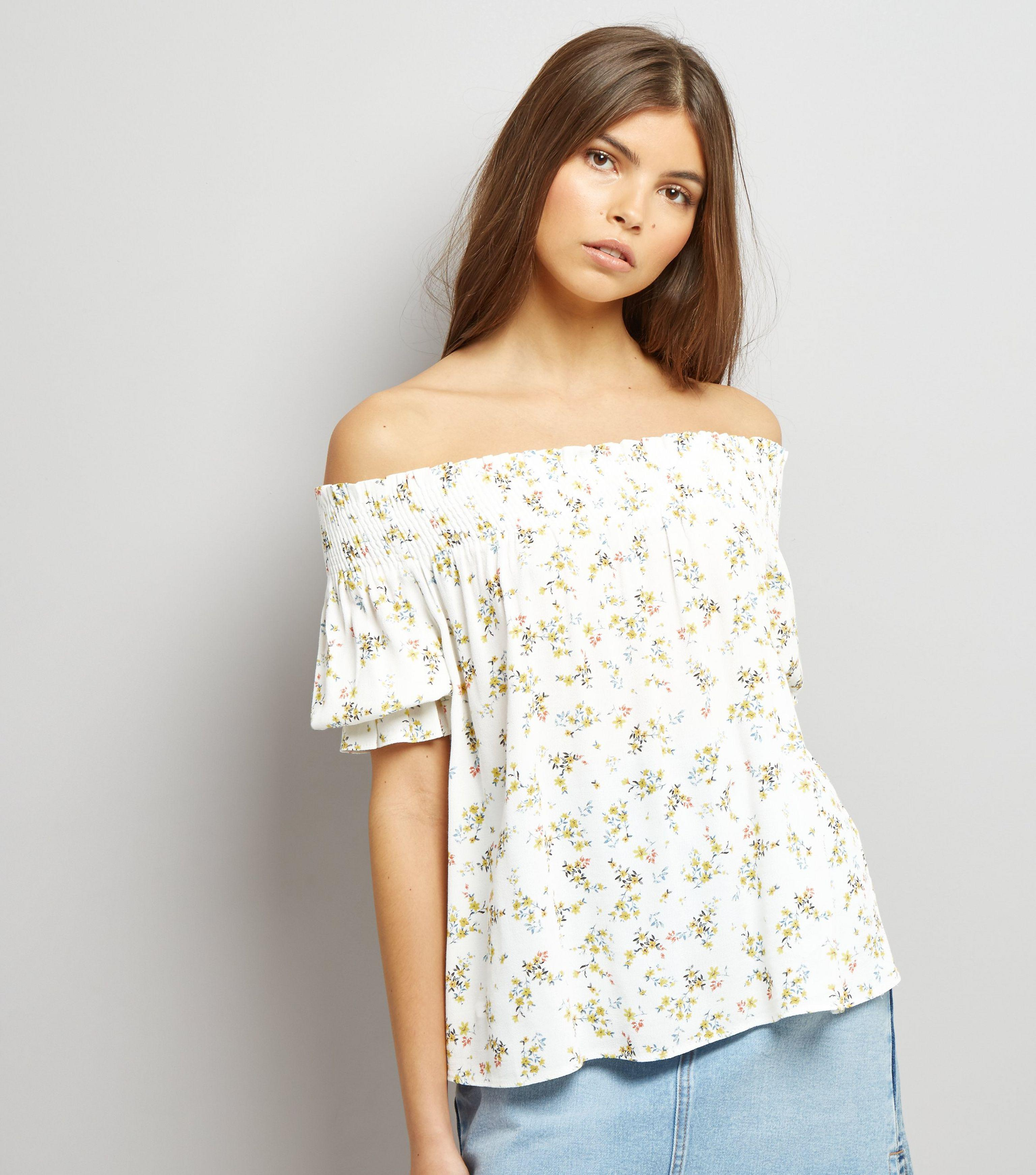 00a6a1d7b9f84b New Look White Floral Print Shirred Bardot Top in White - Lyst