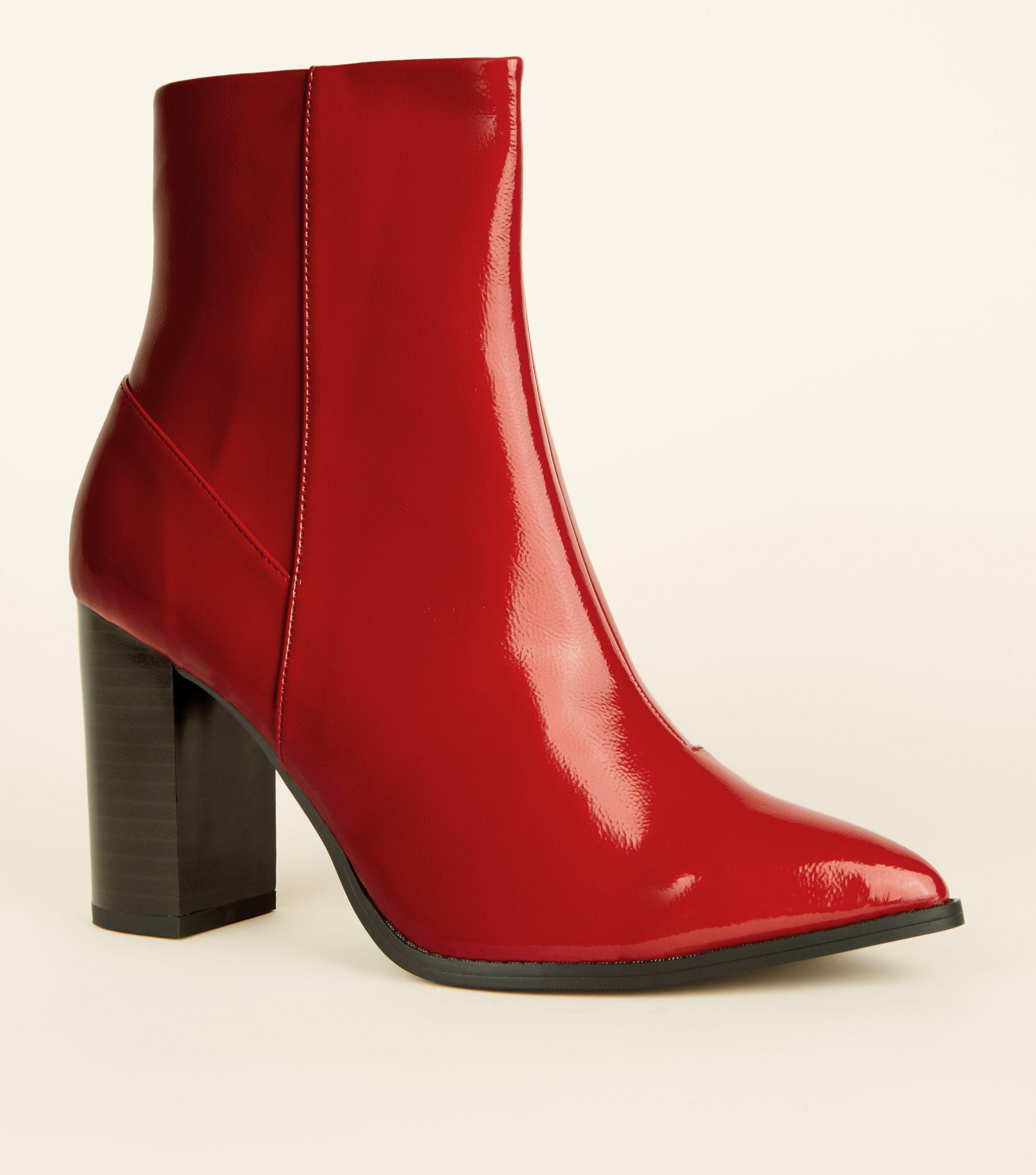 baf9669f092 New Look Wide Fit Red Patent Block Heel Boots in Red - Lyst