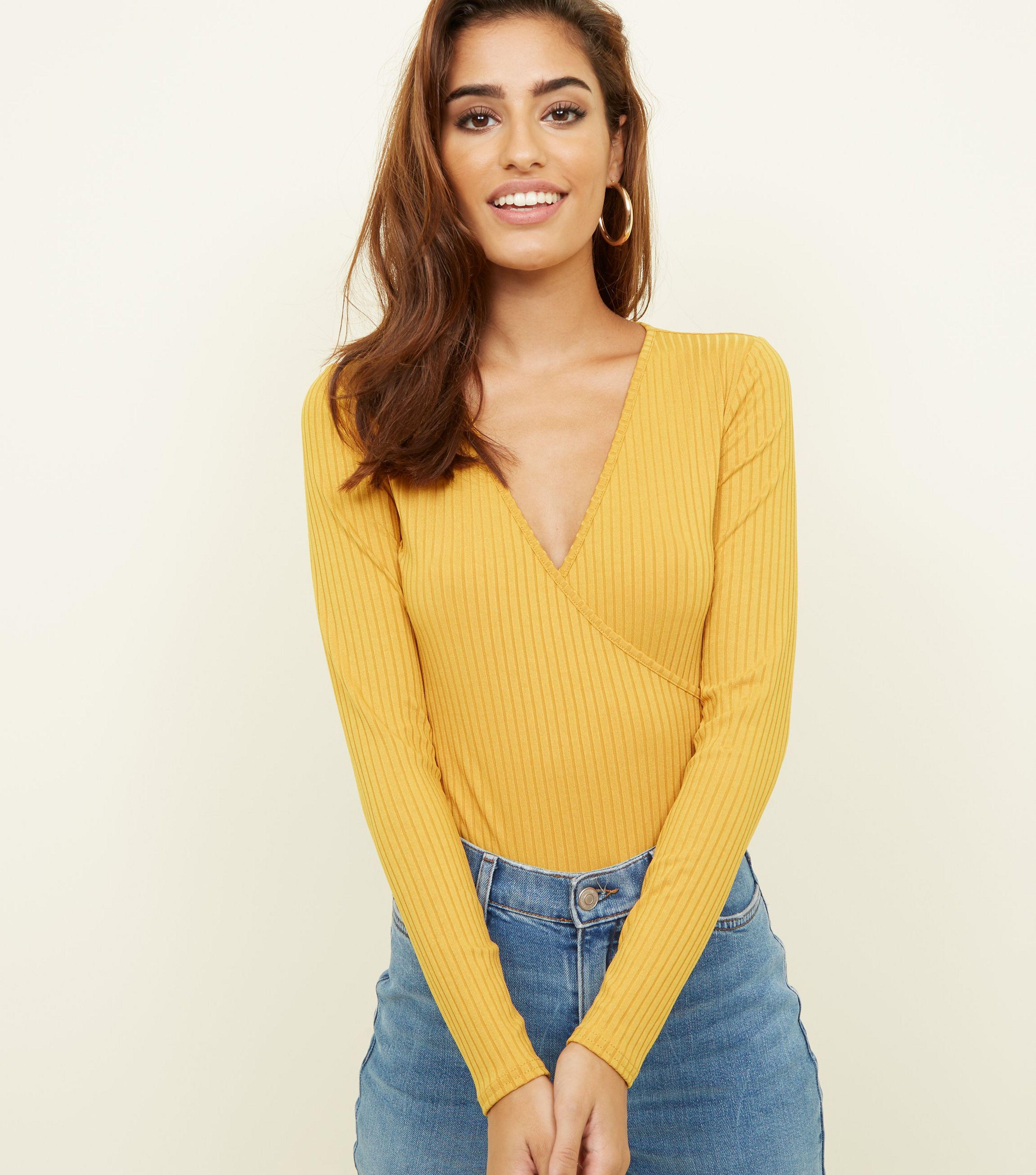 New Look Mustard Ribbed Long Sleeve Wrap Bodysuit in Yellow - Lyst 3785b0642