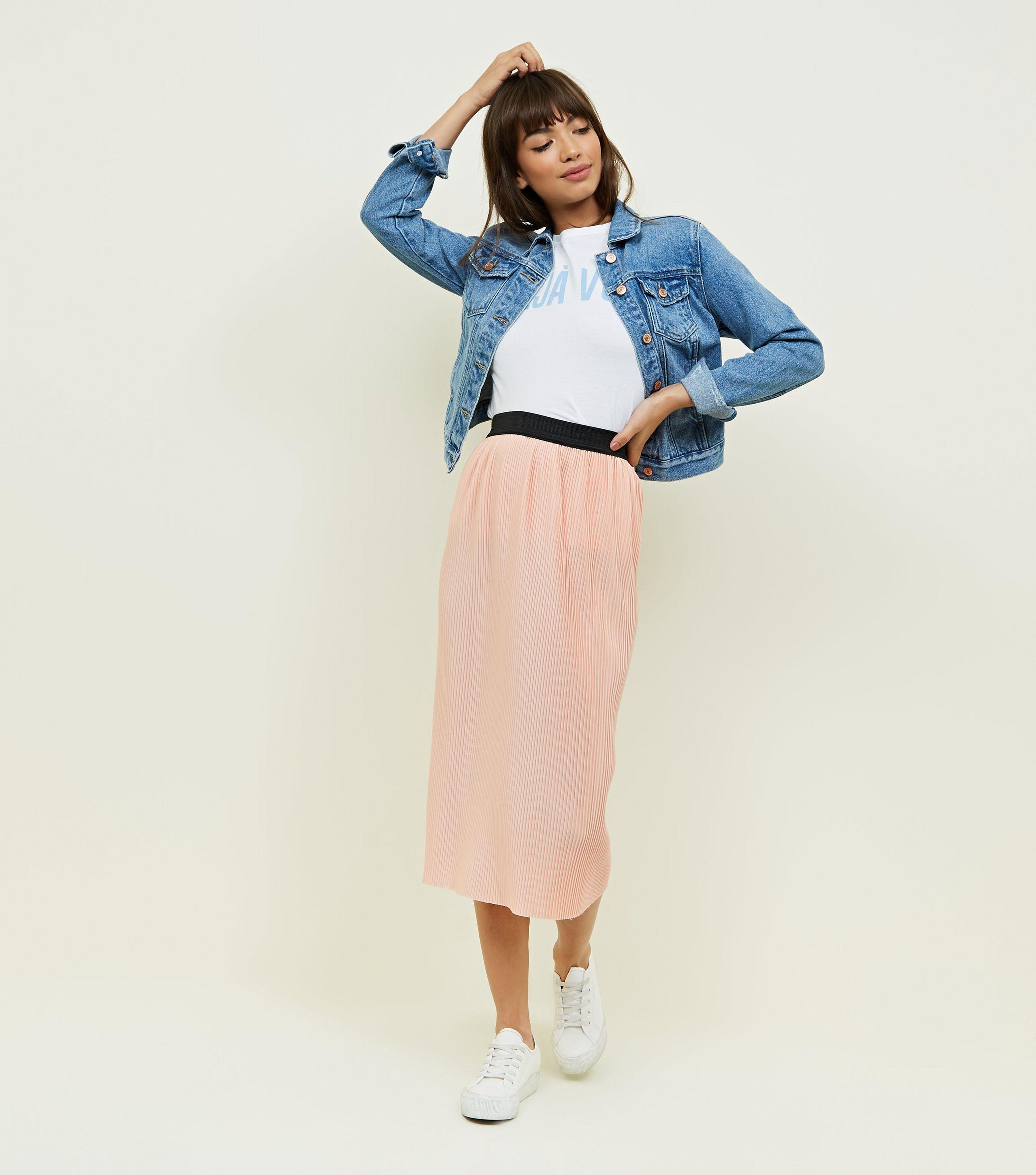 discount coupon cheapest price cheap sale New Look Pale Pink Pleated Midi Skirt