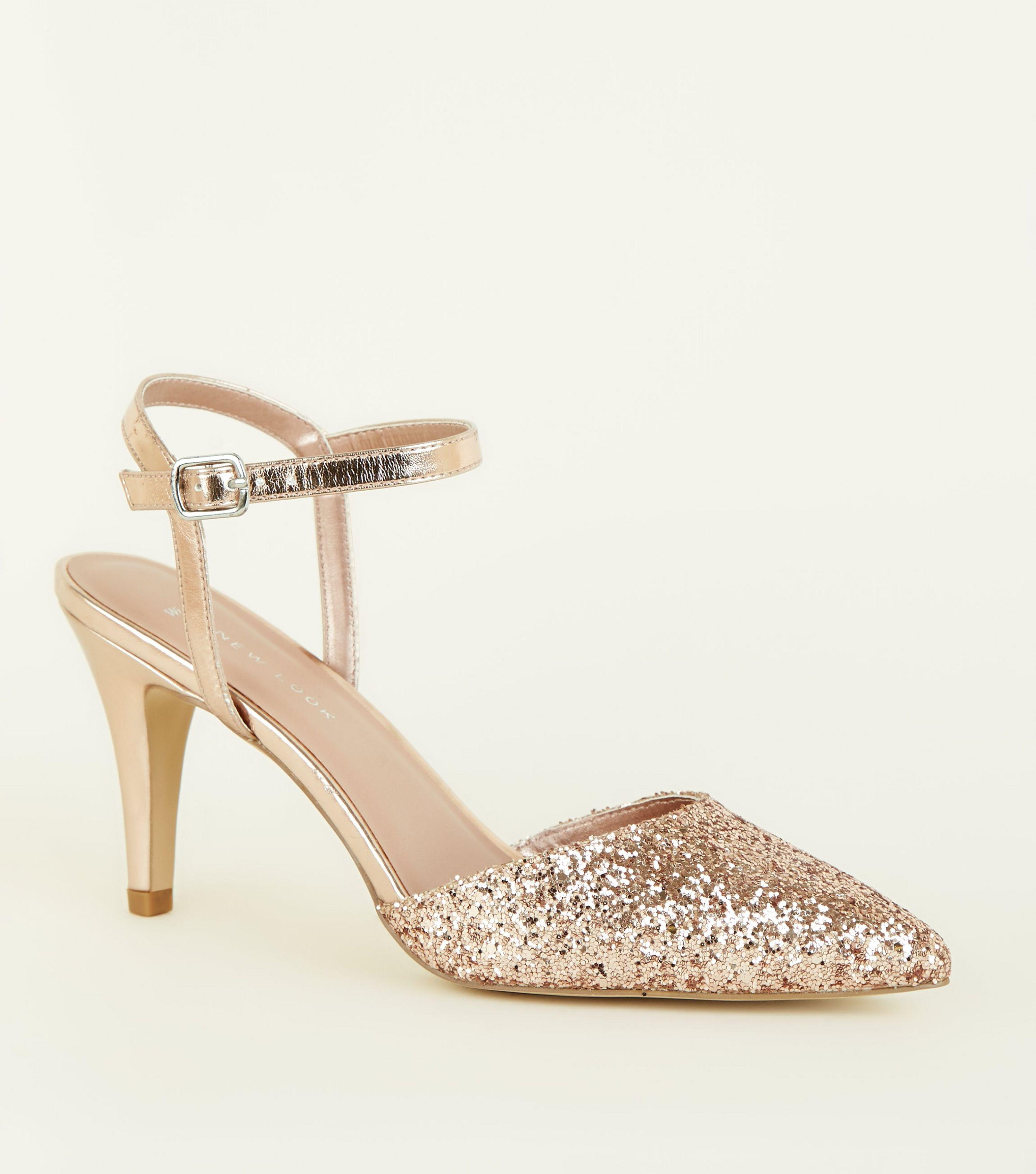 89c016fde22 New Look Wide Fit Rose Gold Glitter Stiletto Heels In Metallic Lyst. Gold  Glitter Comfort Court Shoes ...