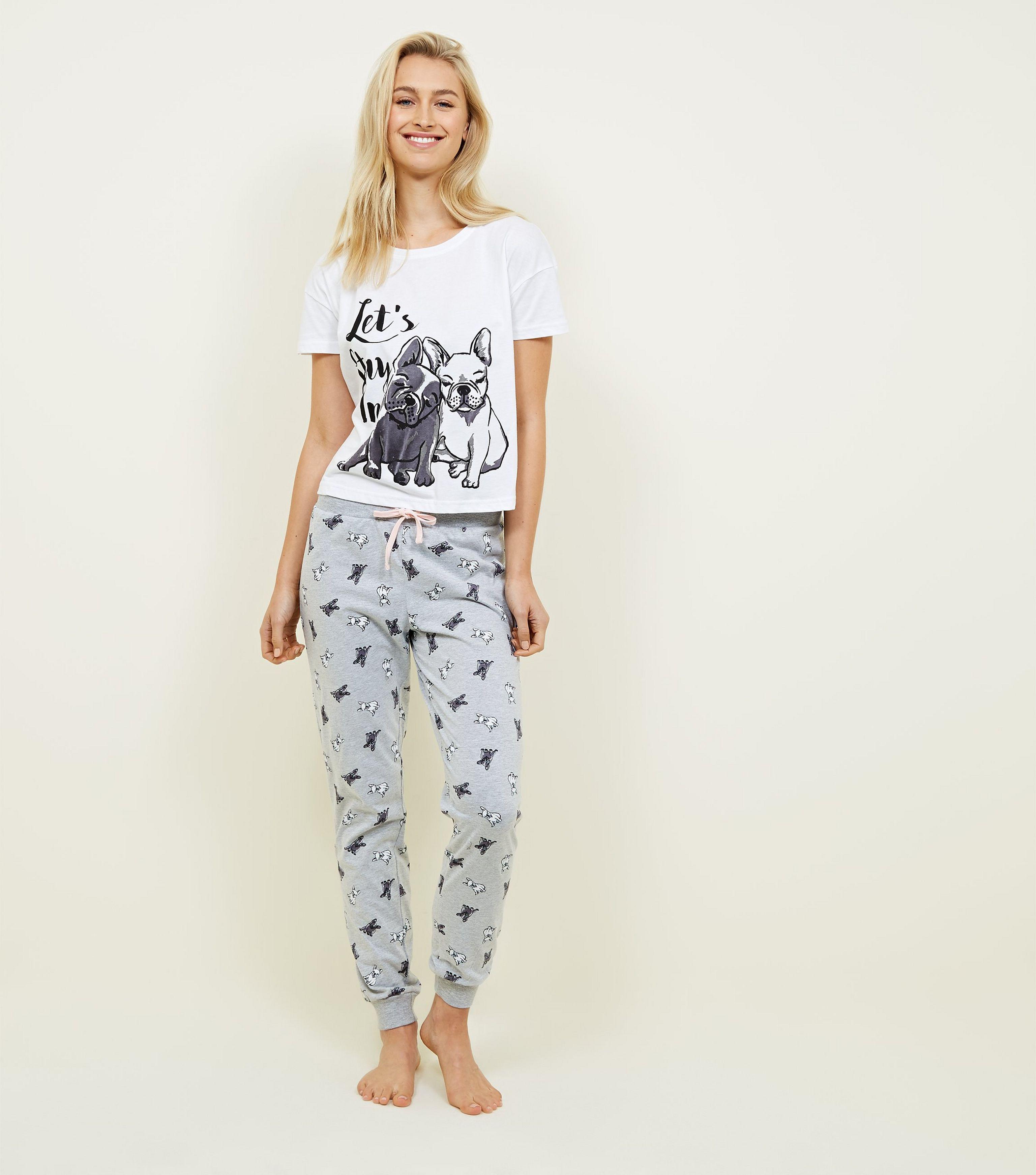 New Look White Slogan French Bulldog Pyjama Set in White - Lyst 4a8fdbc48