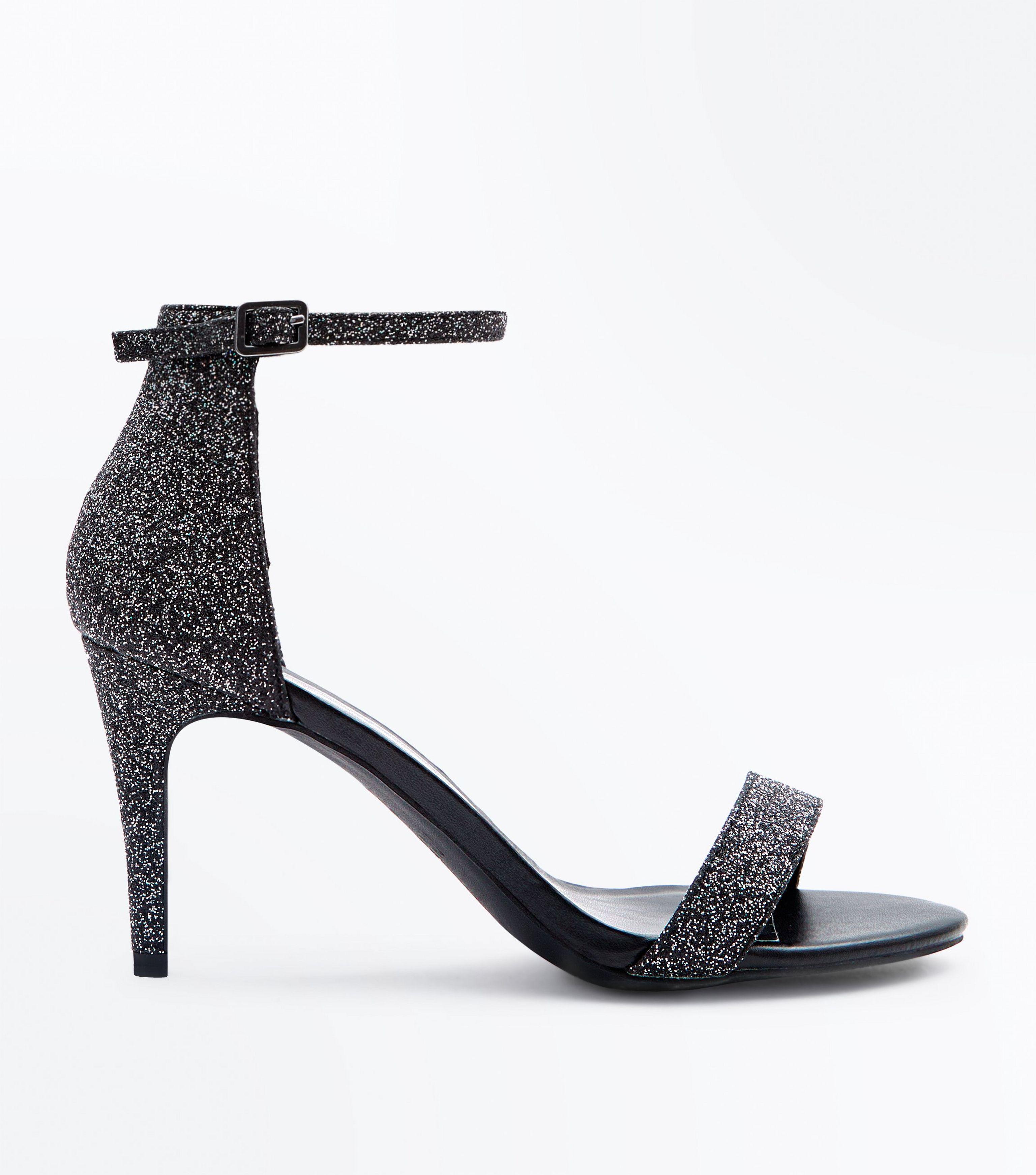 c343e8ff533 New Look Black Glitter Stiletto Heel Sandals in Black - Lyst