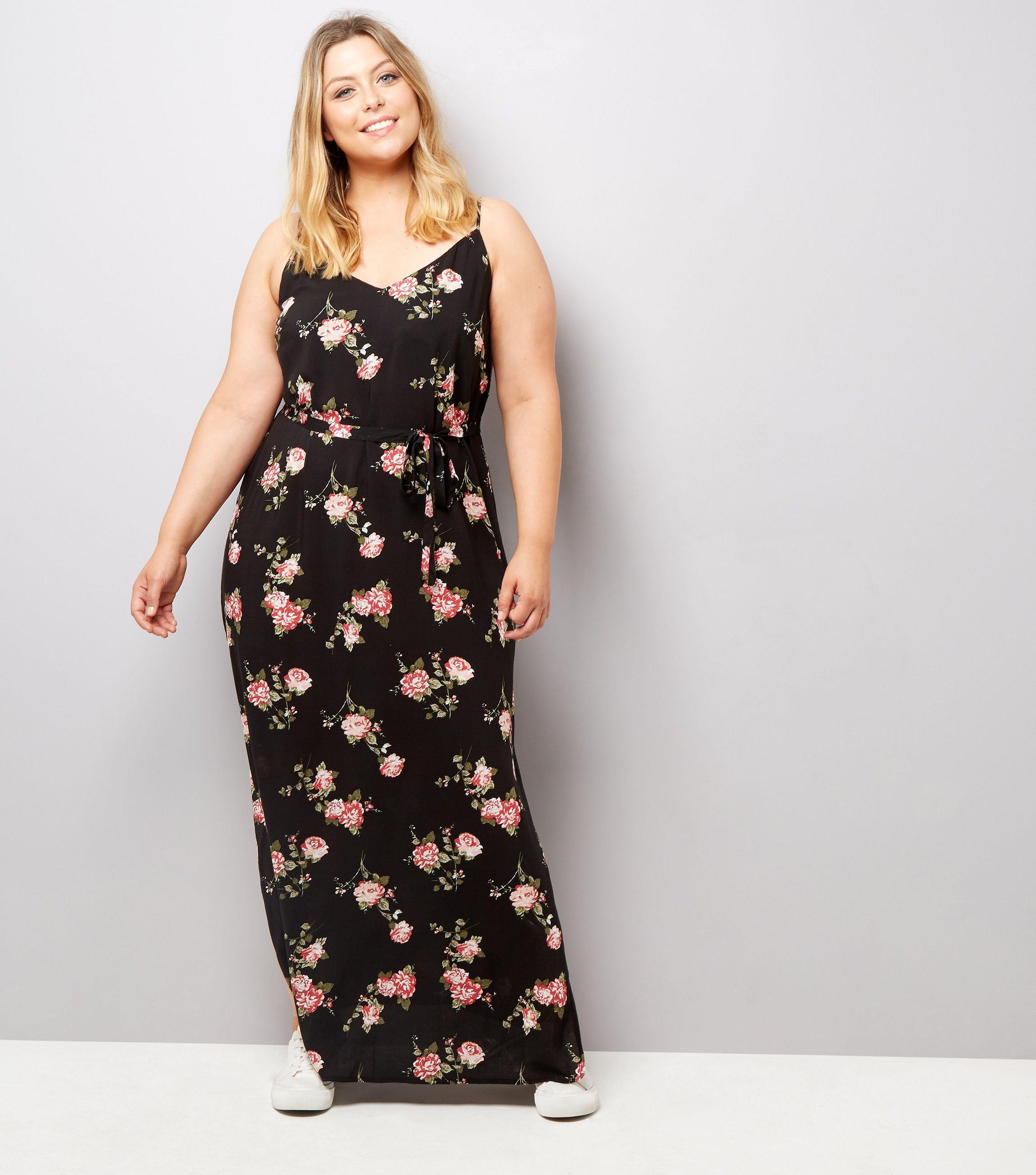 e7dd05389d New Look Curves Black Rose Floral Print Maxi Dress in Black - Lyst