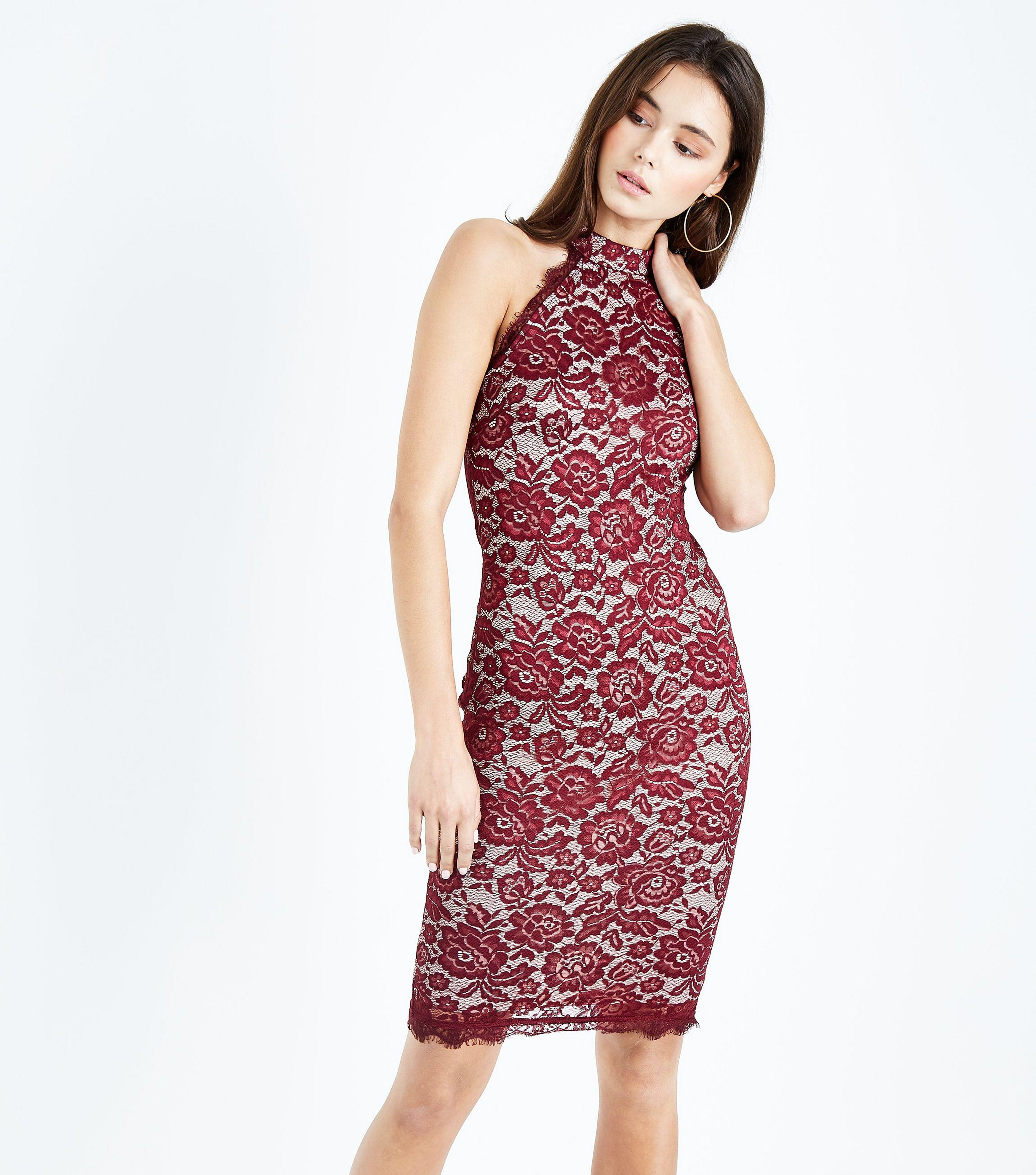 15542ec8347f AX Paris Red Lace High Neck Bodycon Dress in Red - Lyst