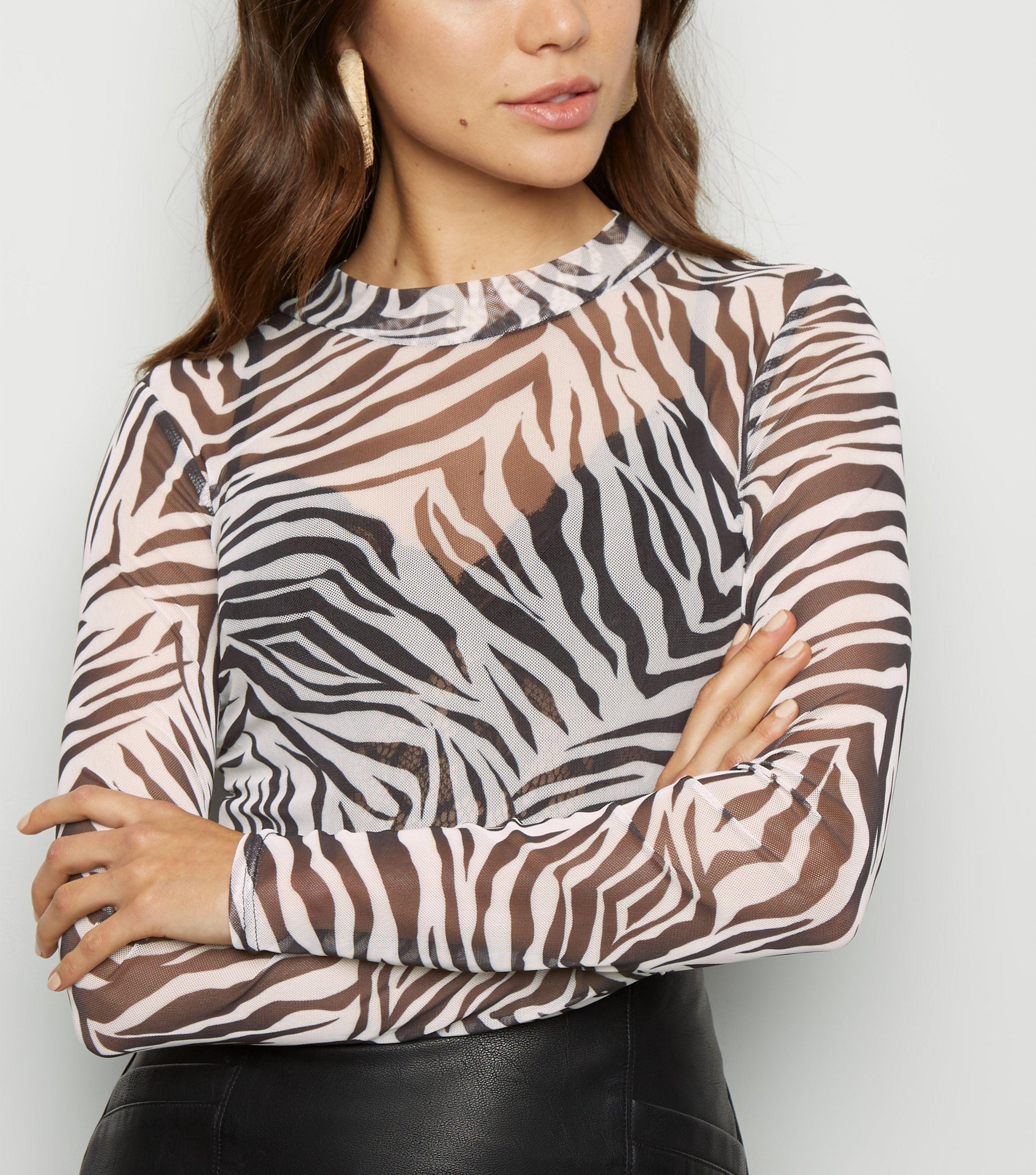 6655bb43785e New Look Black Zebra Print Mesh Long Sleeve Top in Black - Lyst