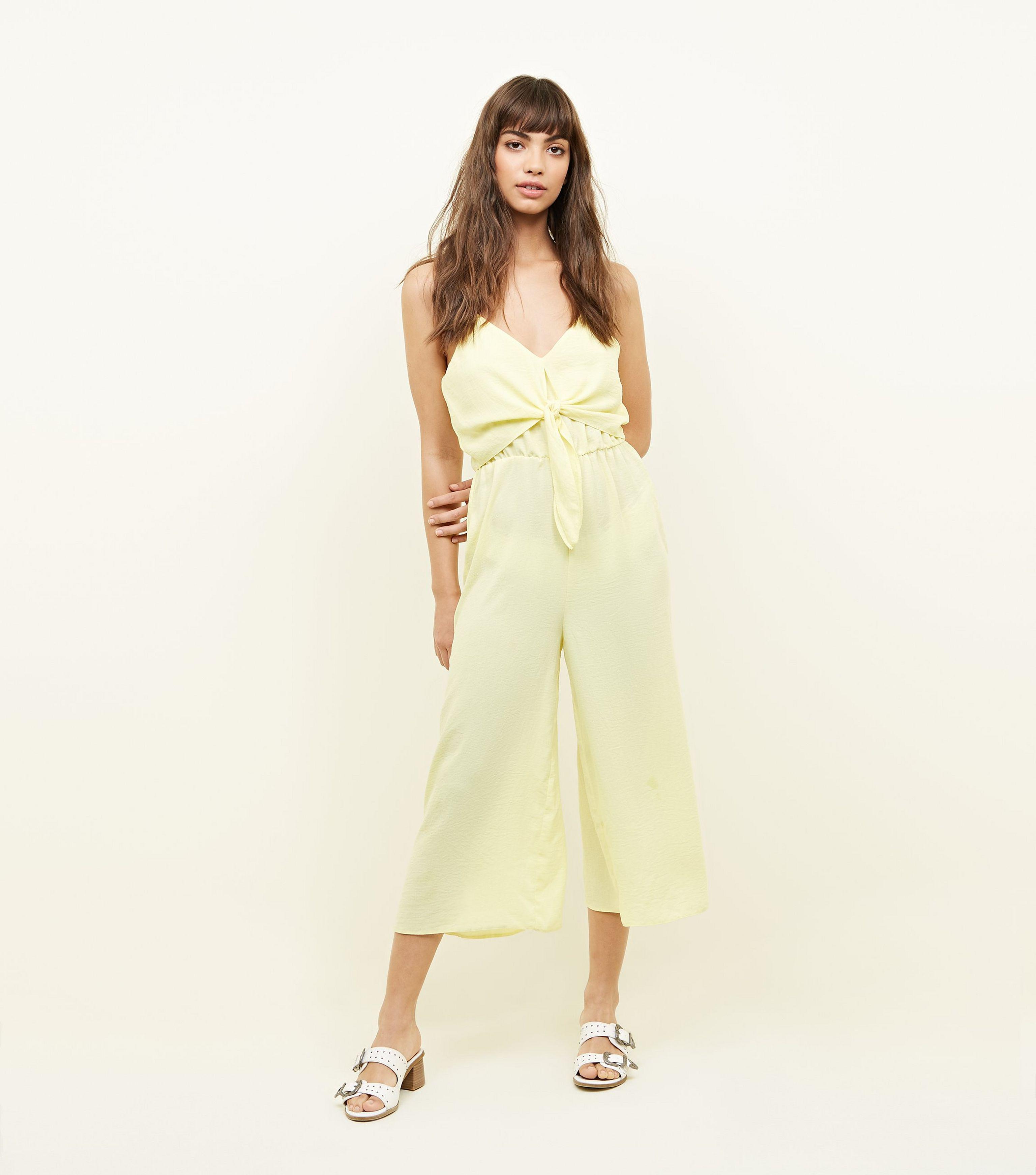 87c1ceb5c1 New Look Yellow Tie Front Linen-look Jumpsuit in Yellow - Lyst