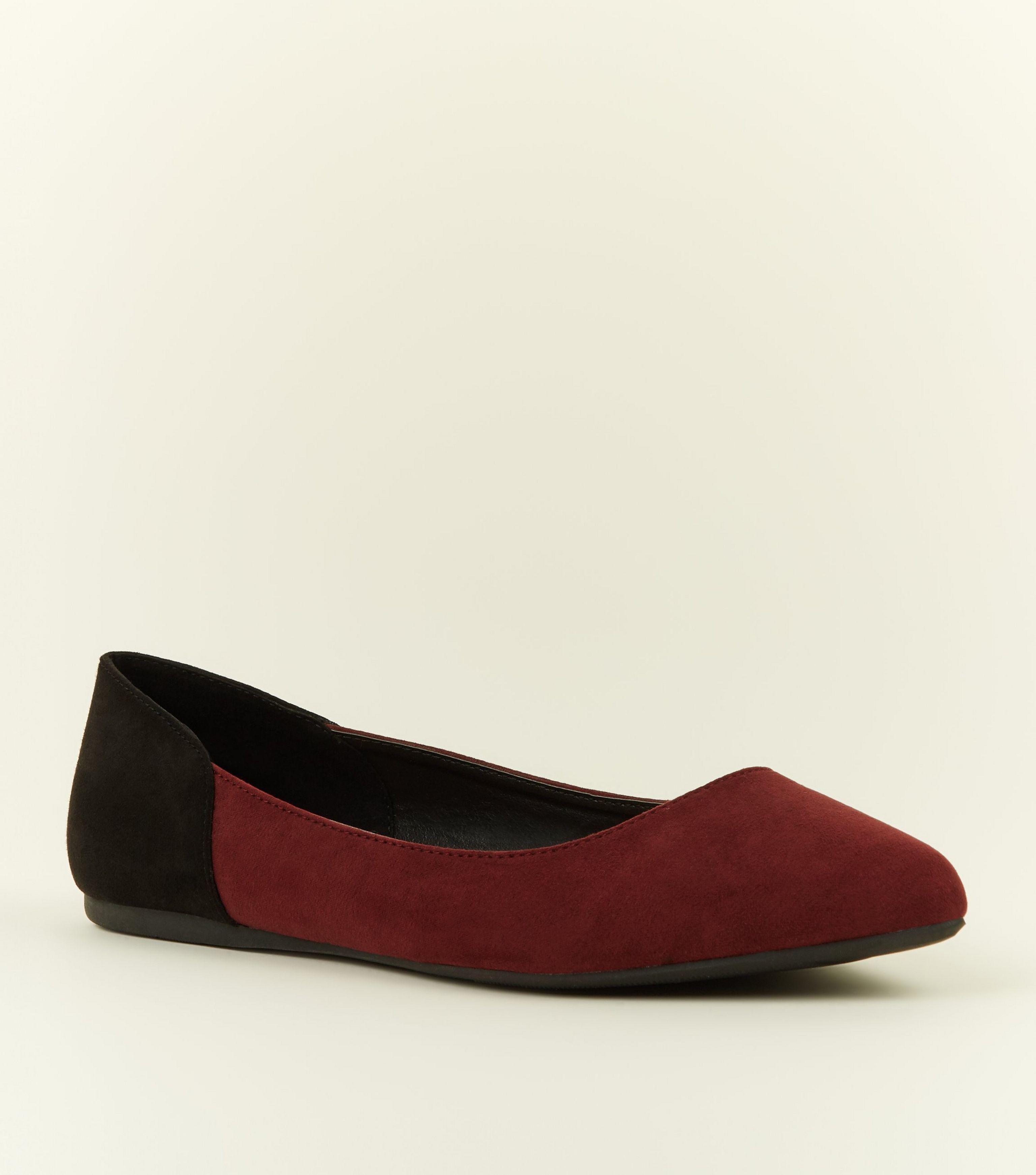 5b5c5c2a850 New Look. Women s Wide Fit Dark Red Contrast Heel Court Shoes