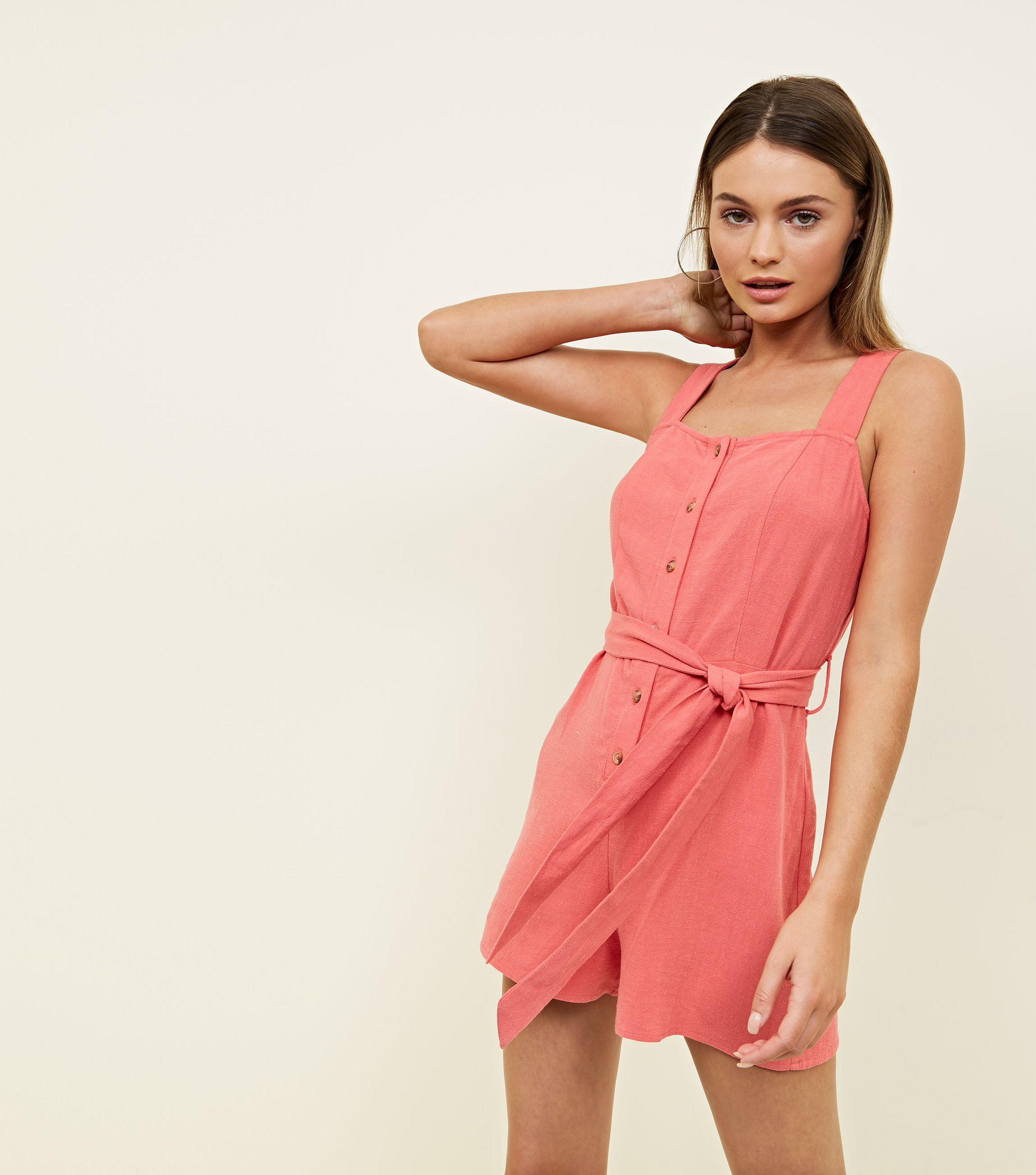 87680b6619 New Look Coral Linen-look Button Through Playsuit in Pink - Lyst