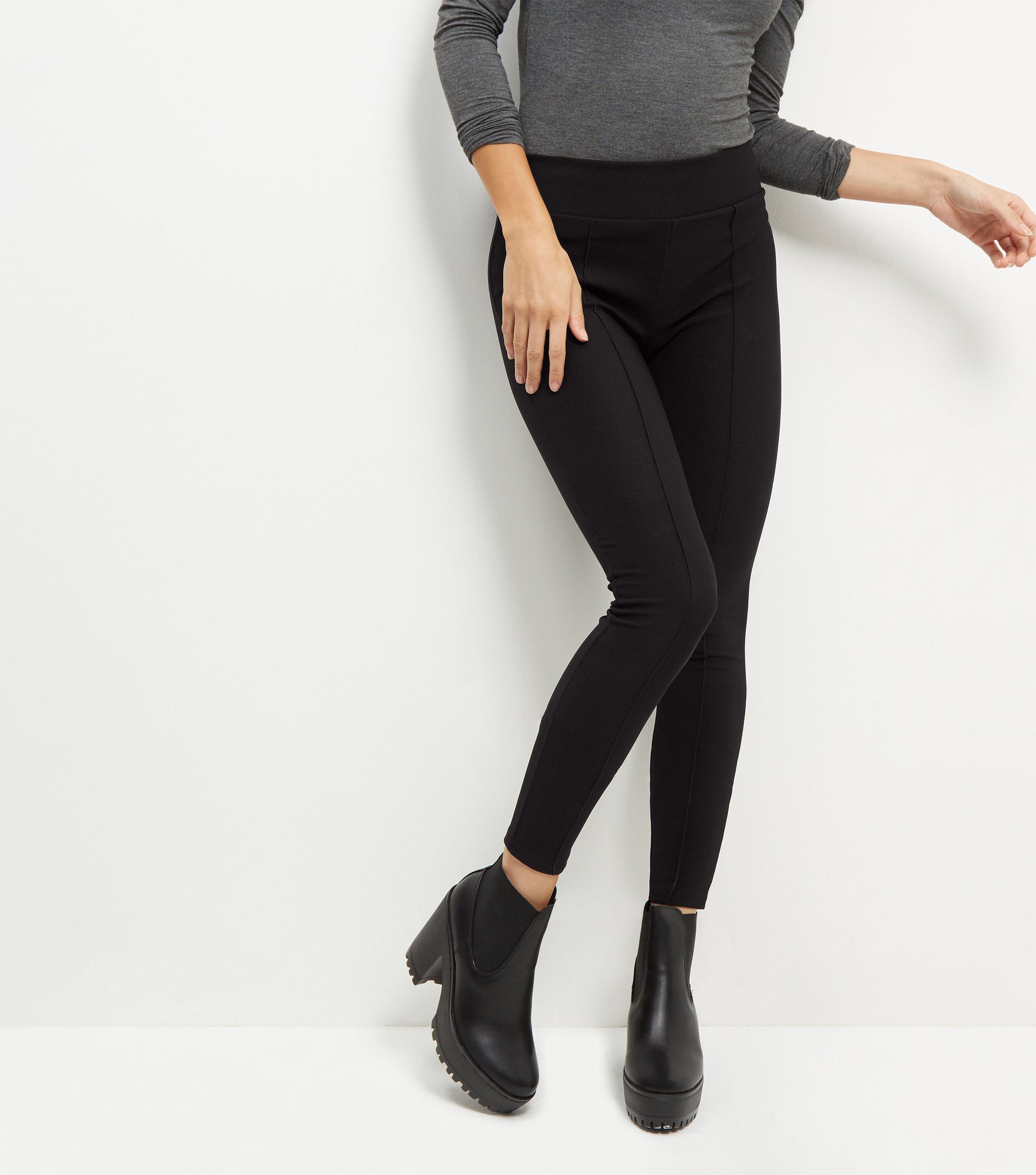 3bef0443c483cc New Look Black Ribbed Seam Front Leggings in Black - Lyst