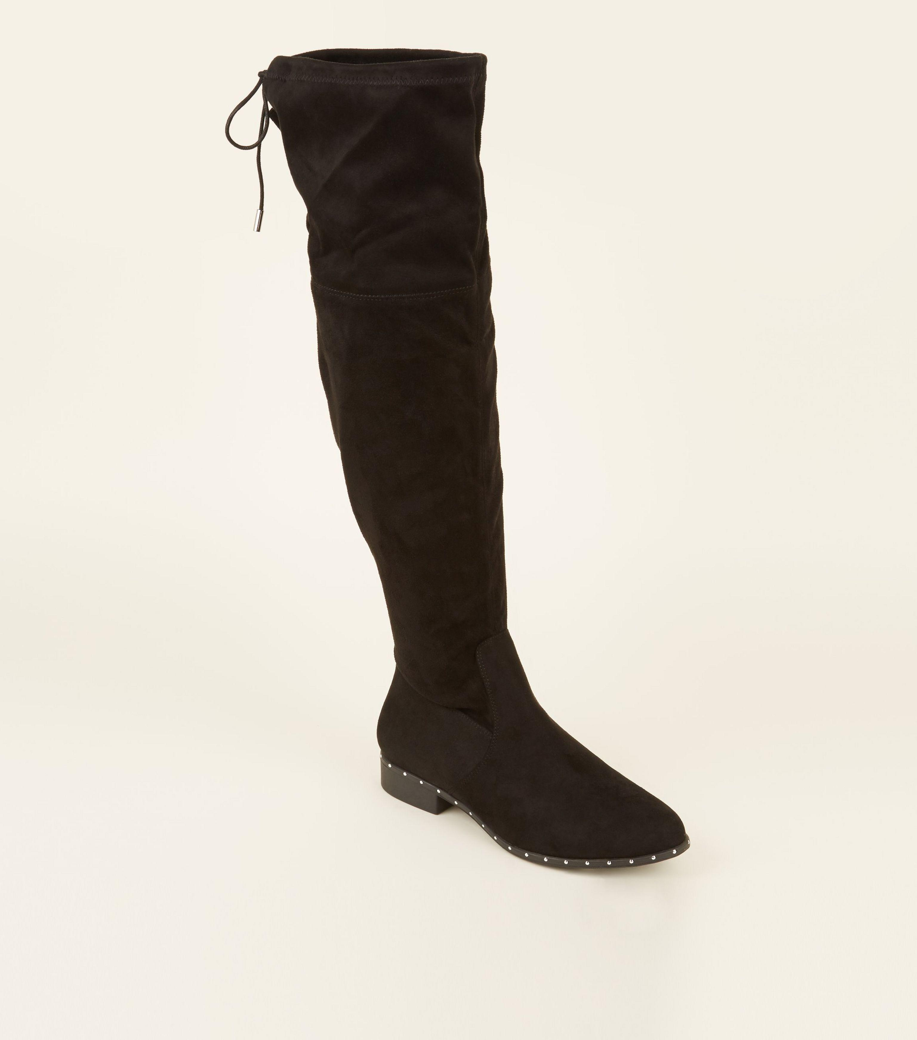 8fde79fcd6c New Look Black Extra Calf Fit Studded Sole Over The Knee Boots in ...