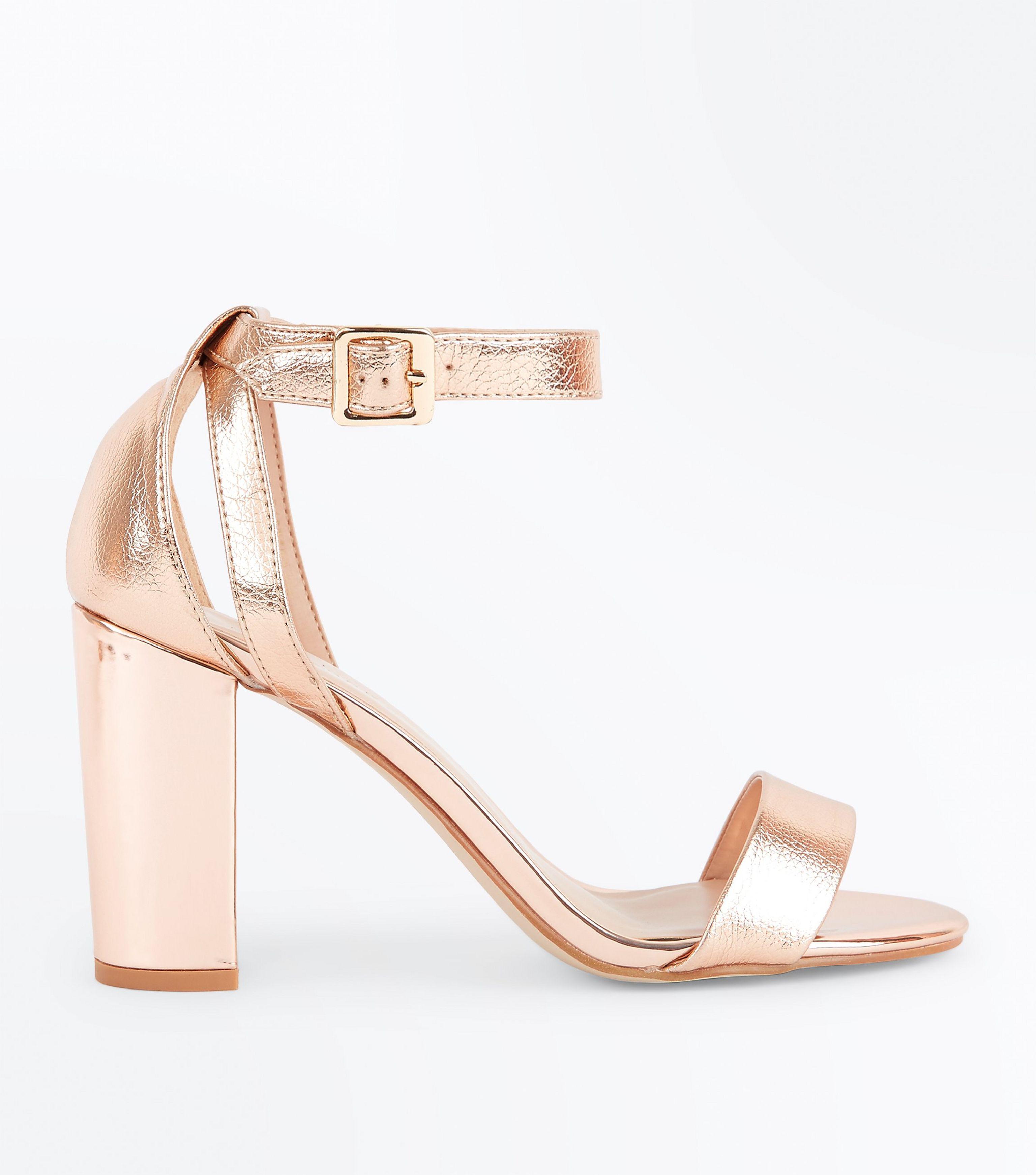 ce927c15198f New Look Rose Gold Metallic Block Heel Sandals in Pink - Lyst