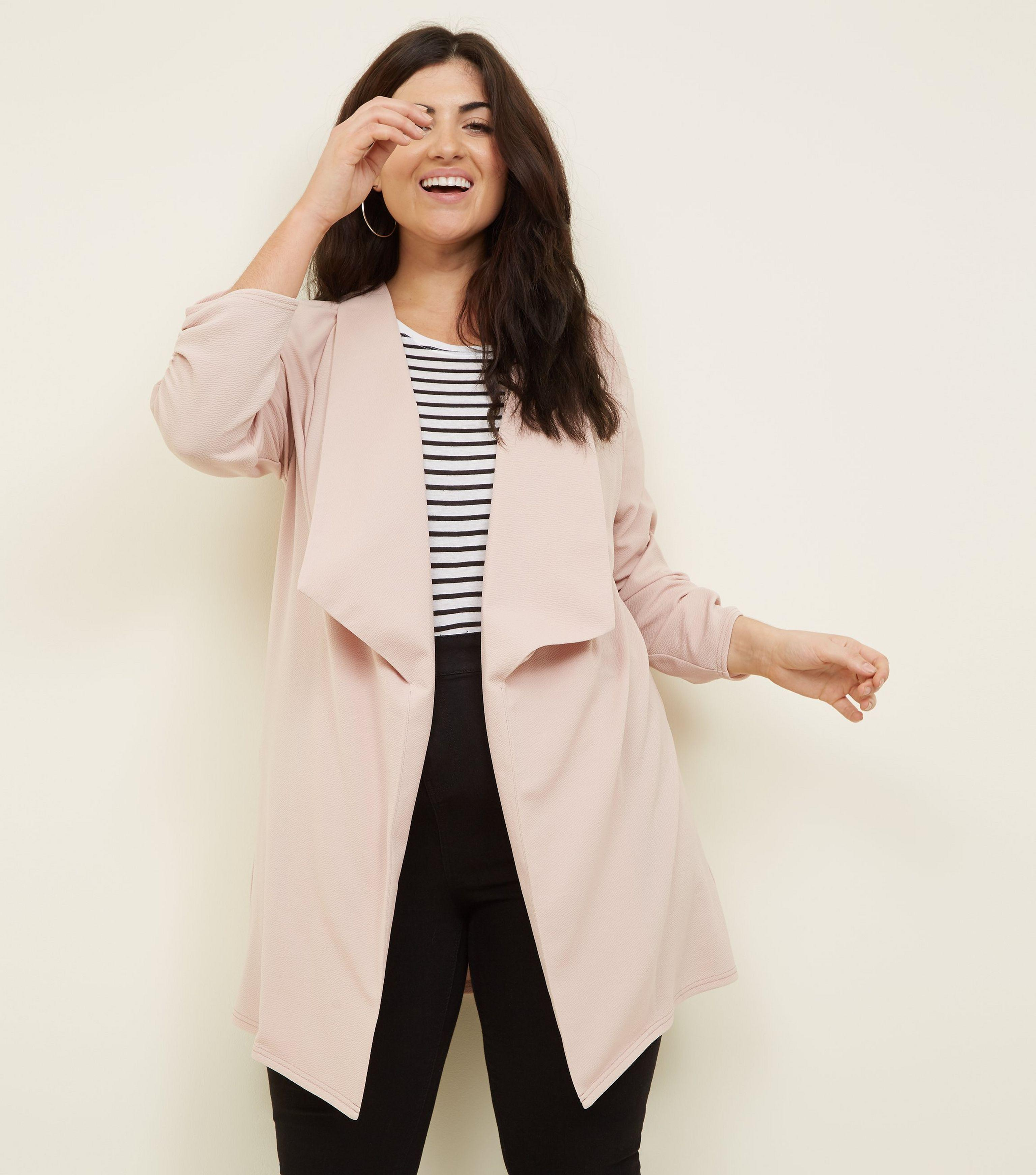 2eb1d769d4c New Look Curves Pink Longline Waterfall Blazer in Pink - Lyst