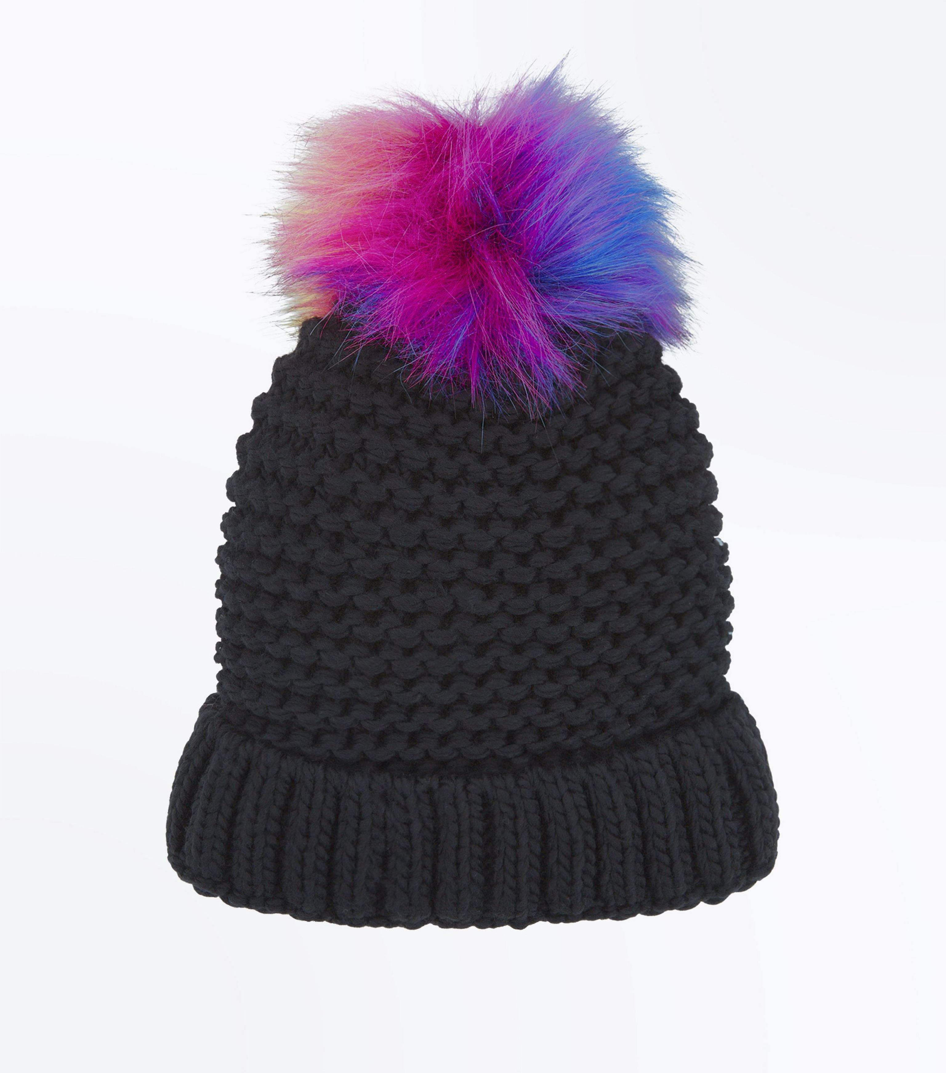 1c8ac2ebea1bb New Look Black Faux Fur Pom Pom Bobble Beanie in Black - Lyst