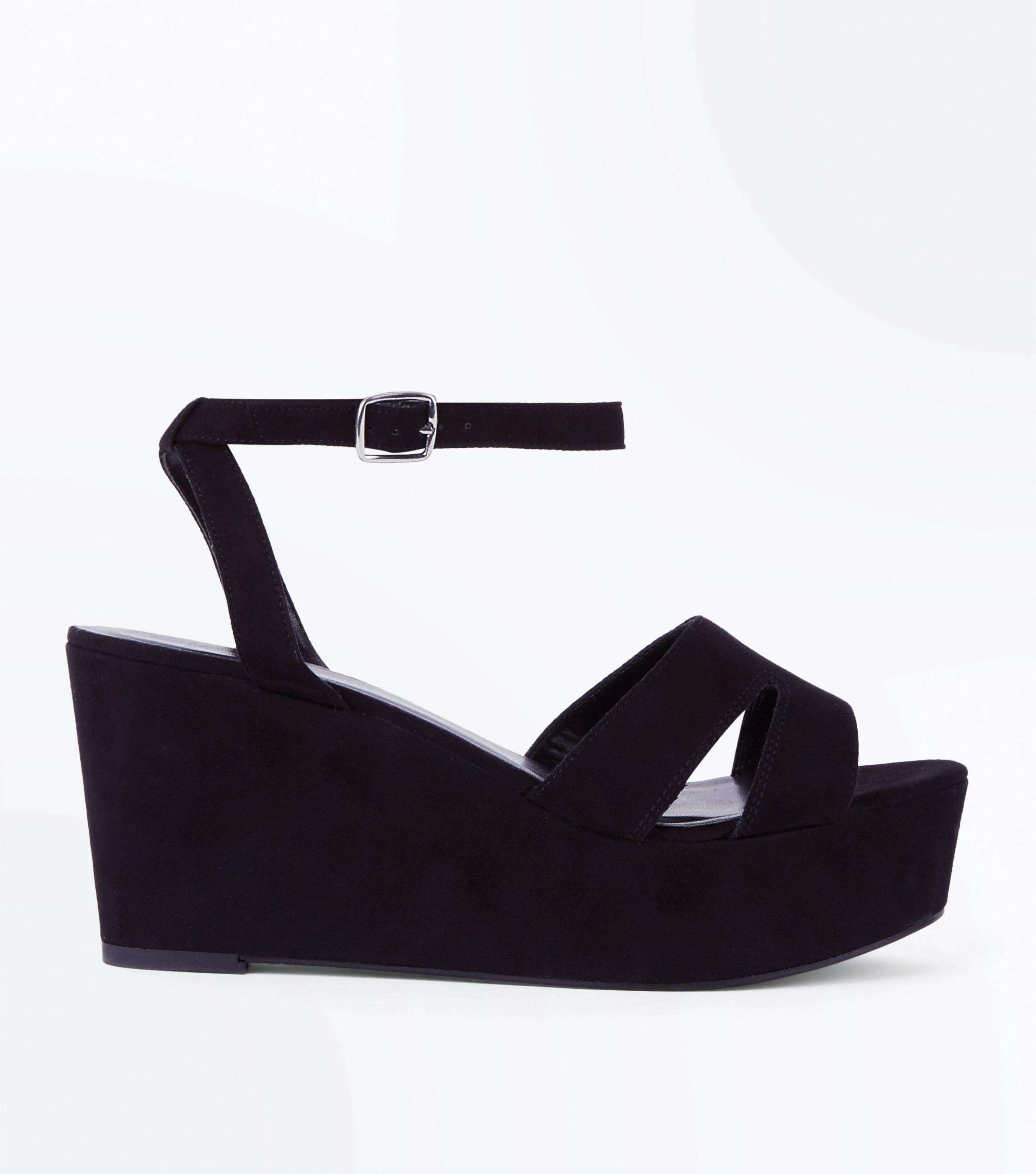 aa14c93e3b1 New Look Wide Fit Black Suedette Flatform Wedge Sandals in Black - Lyst