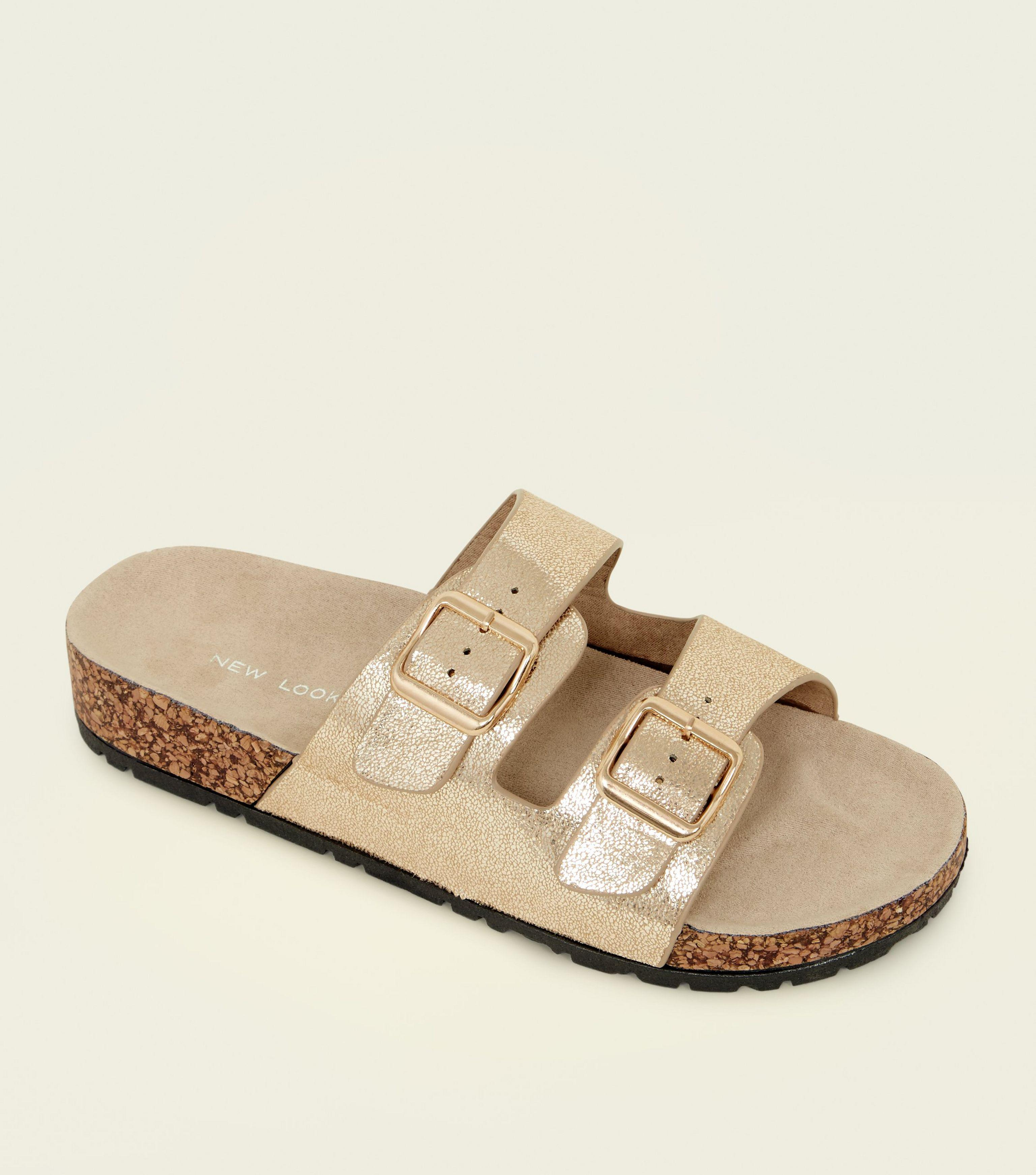 d6042ee6cdcc New Look Gold Double Buckle Strap Footbed Sandals in Metallic - Lyst