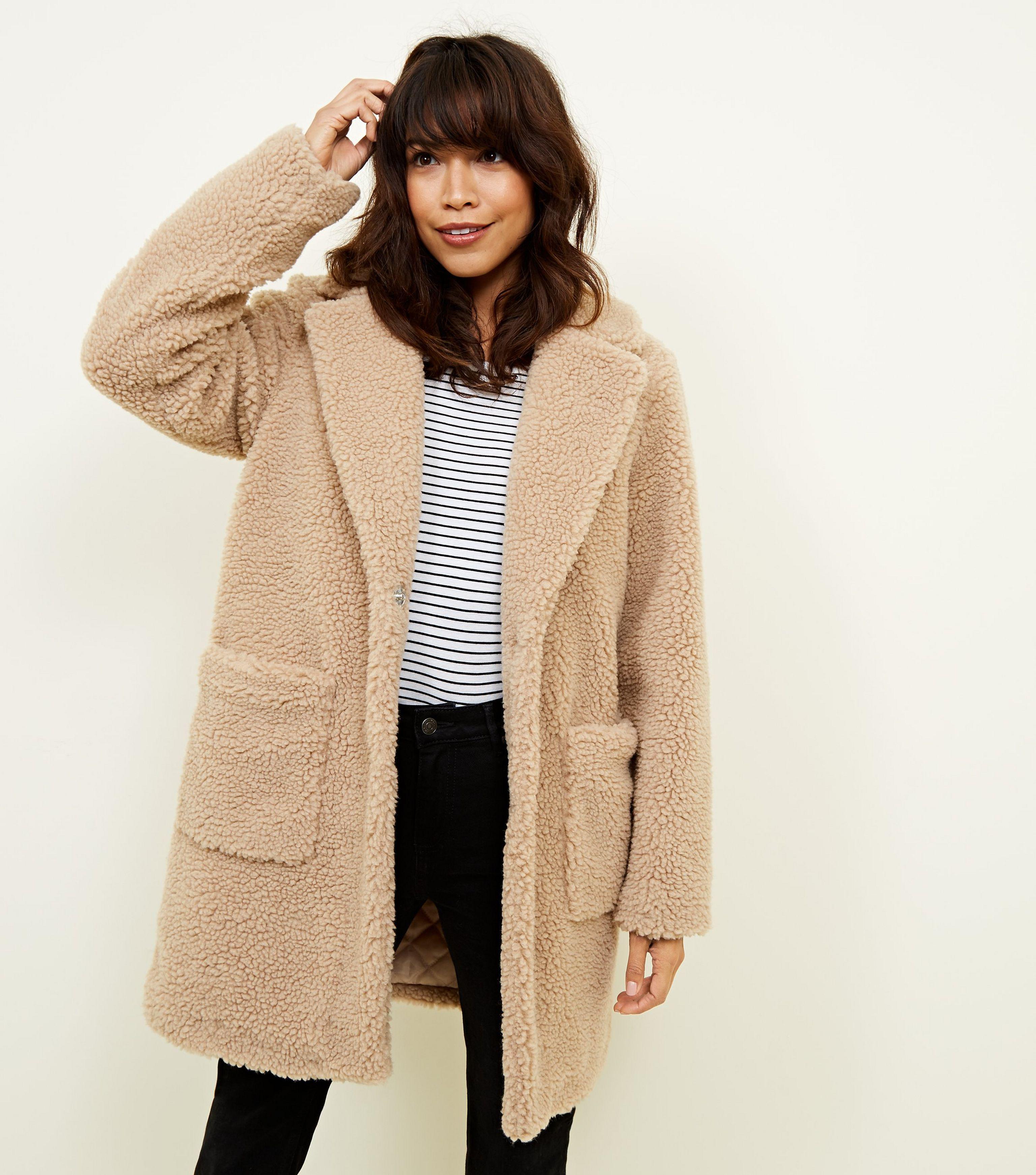 7418bcb5ecca New Look Cream Teddy Coat in Natural - Lyst