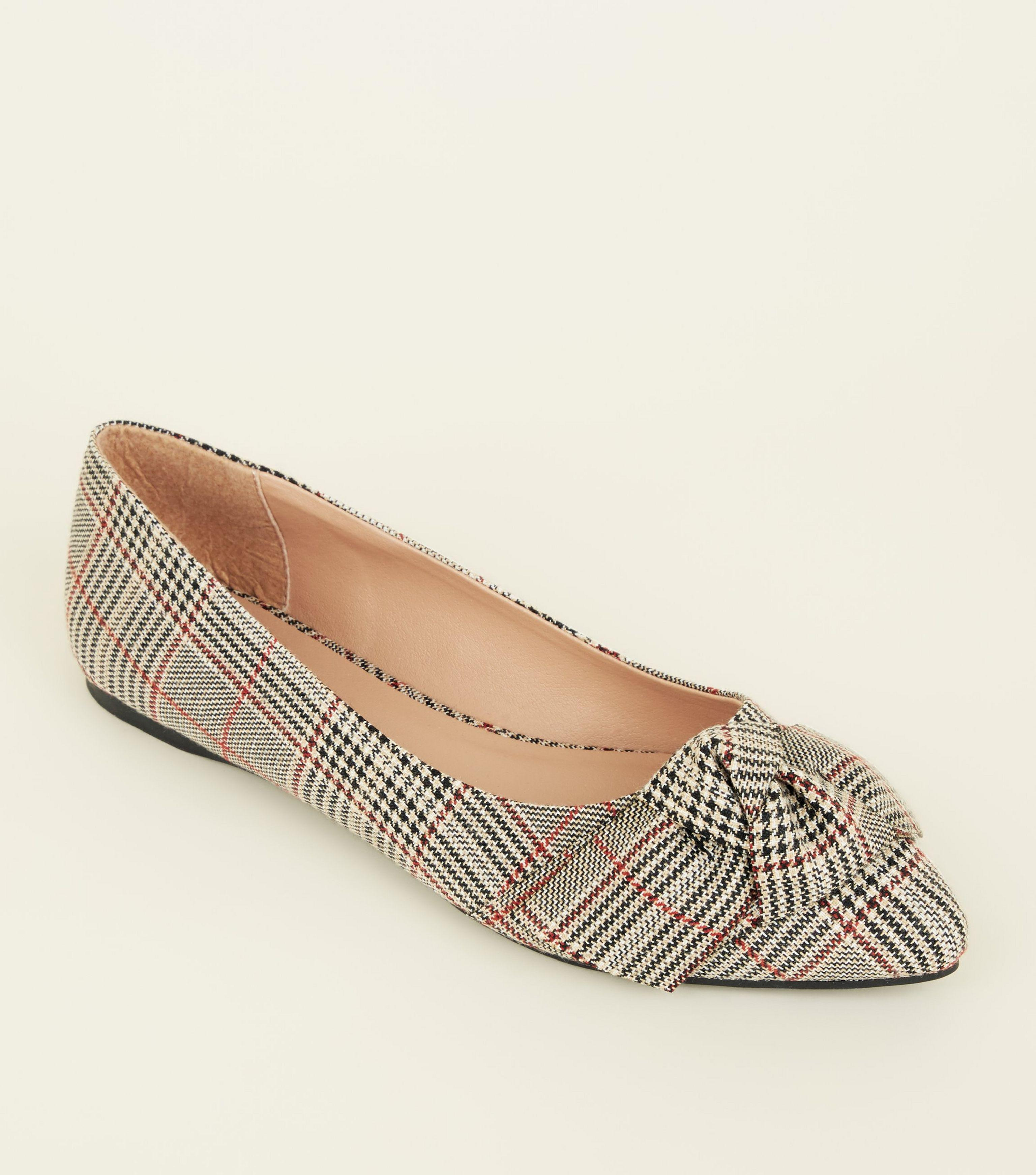 dd797ef6465 New Look Wide Fit Grey Check Bow Pointed Ballet Pumps in Gray - Lyst