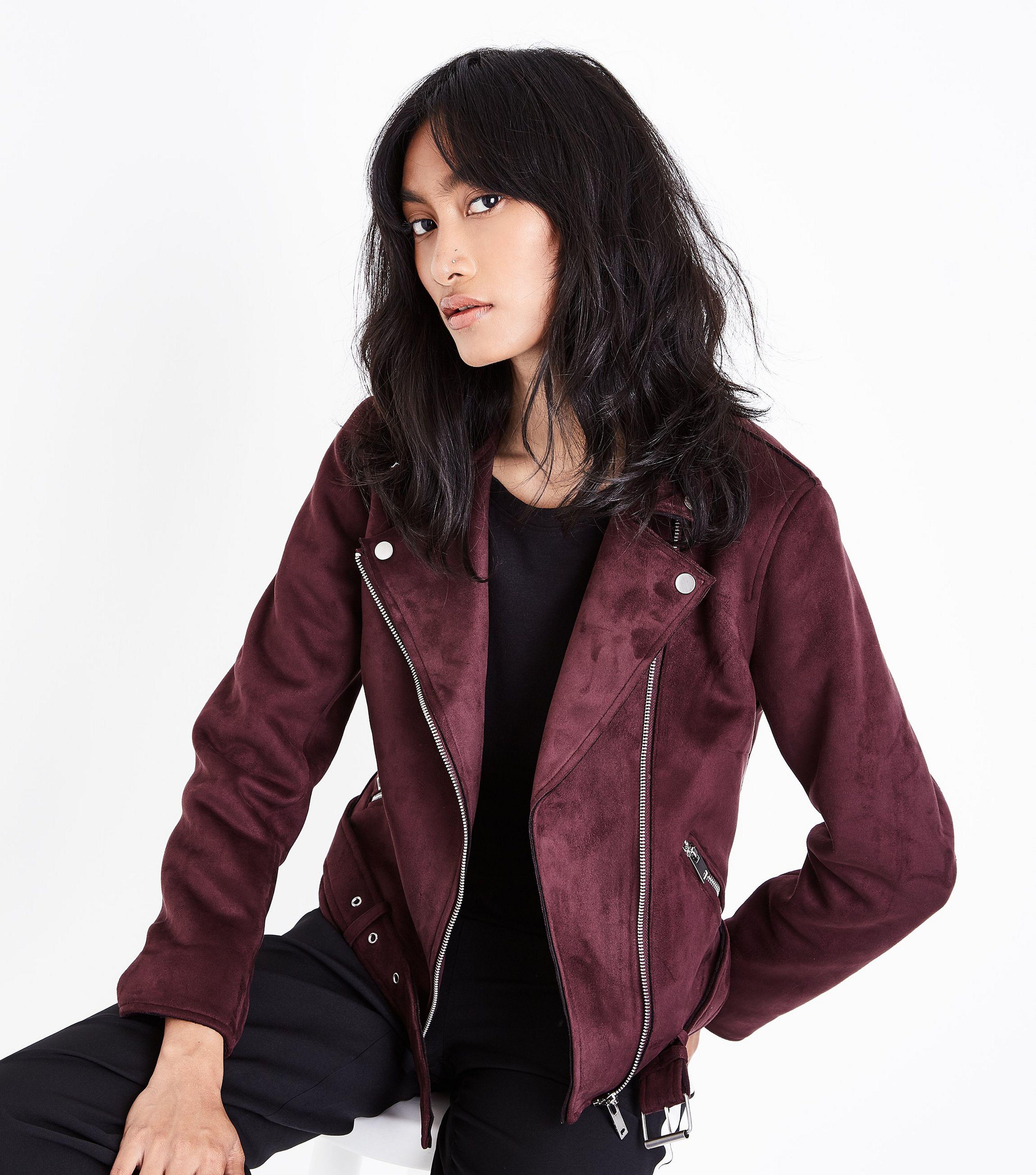 New Look Burgundy Suedette Biker Jacket In Purple Lyst