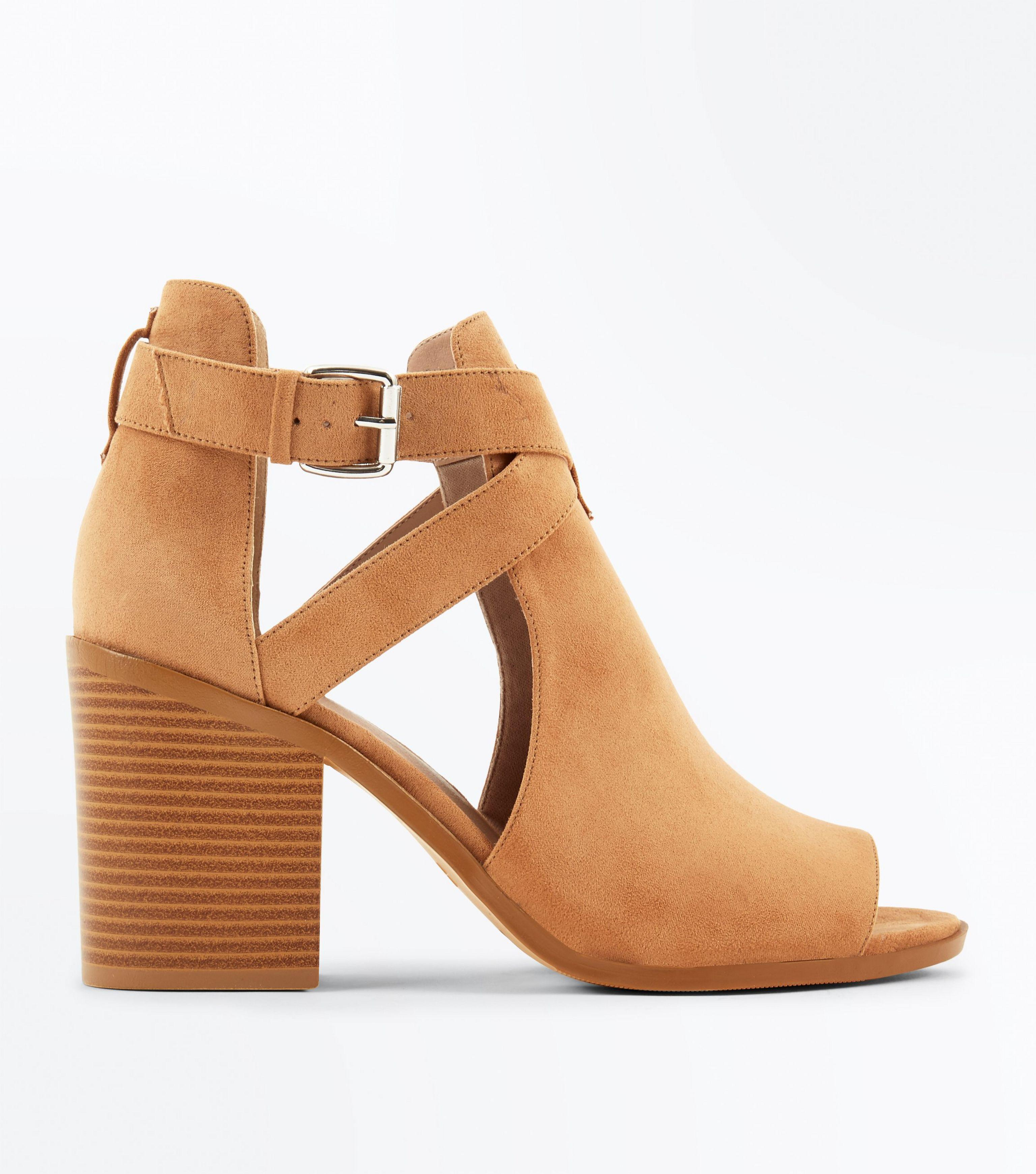 b47b1c19663 New Look Wide Fit Tan Cut Out Suedette Heel Sandals in Brown - Lyst