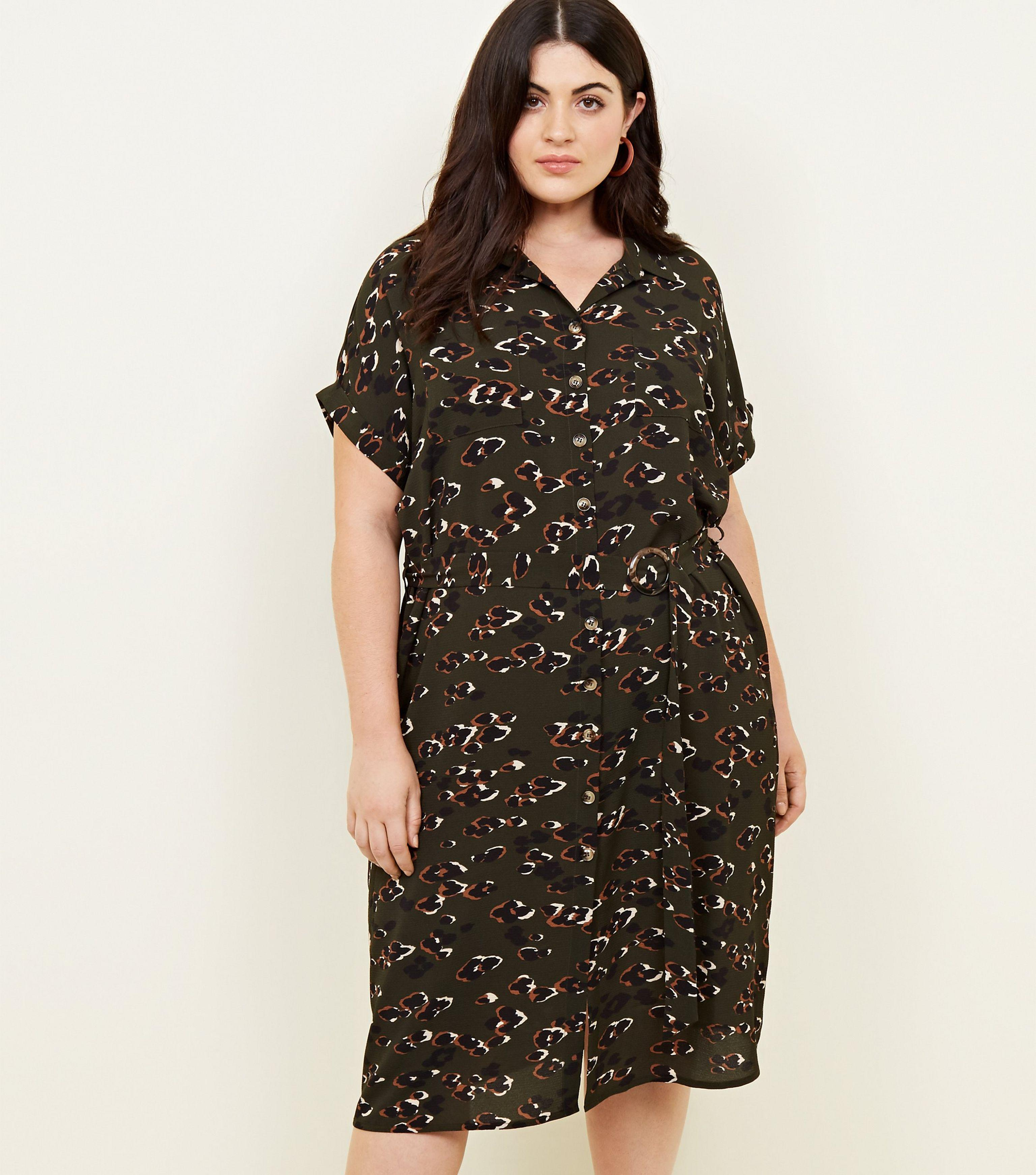 a1d857f71c New Look Curves Dark Green Animal Print Midi Shirt Dress in Green - Lyst