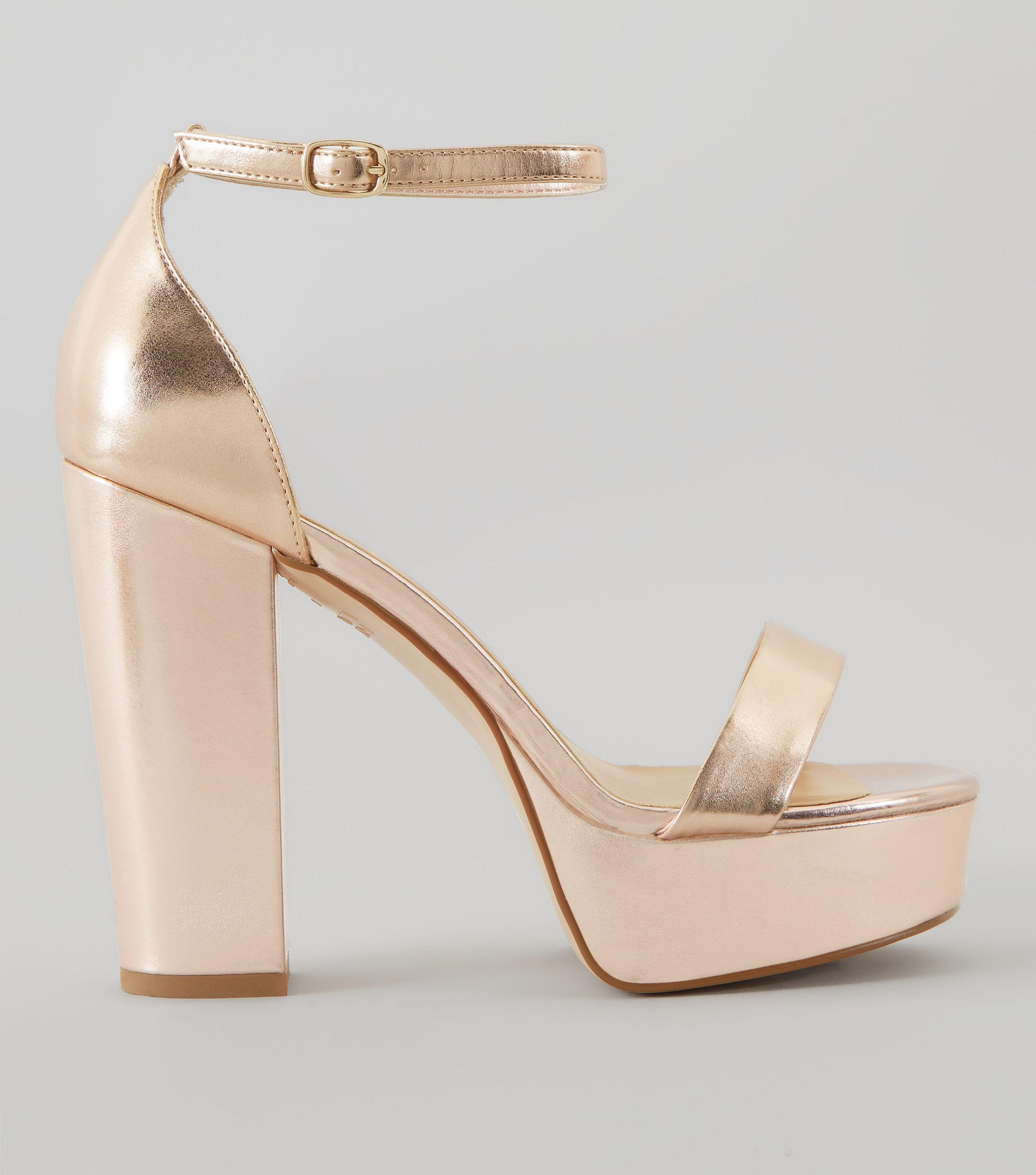 33ee2431cd538 New Look Wide Fit Rose Gold Metallic Platform Heels in Metallic - Lyst