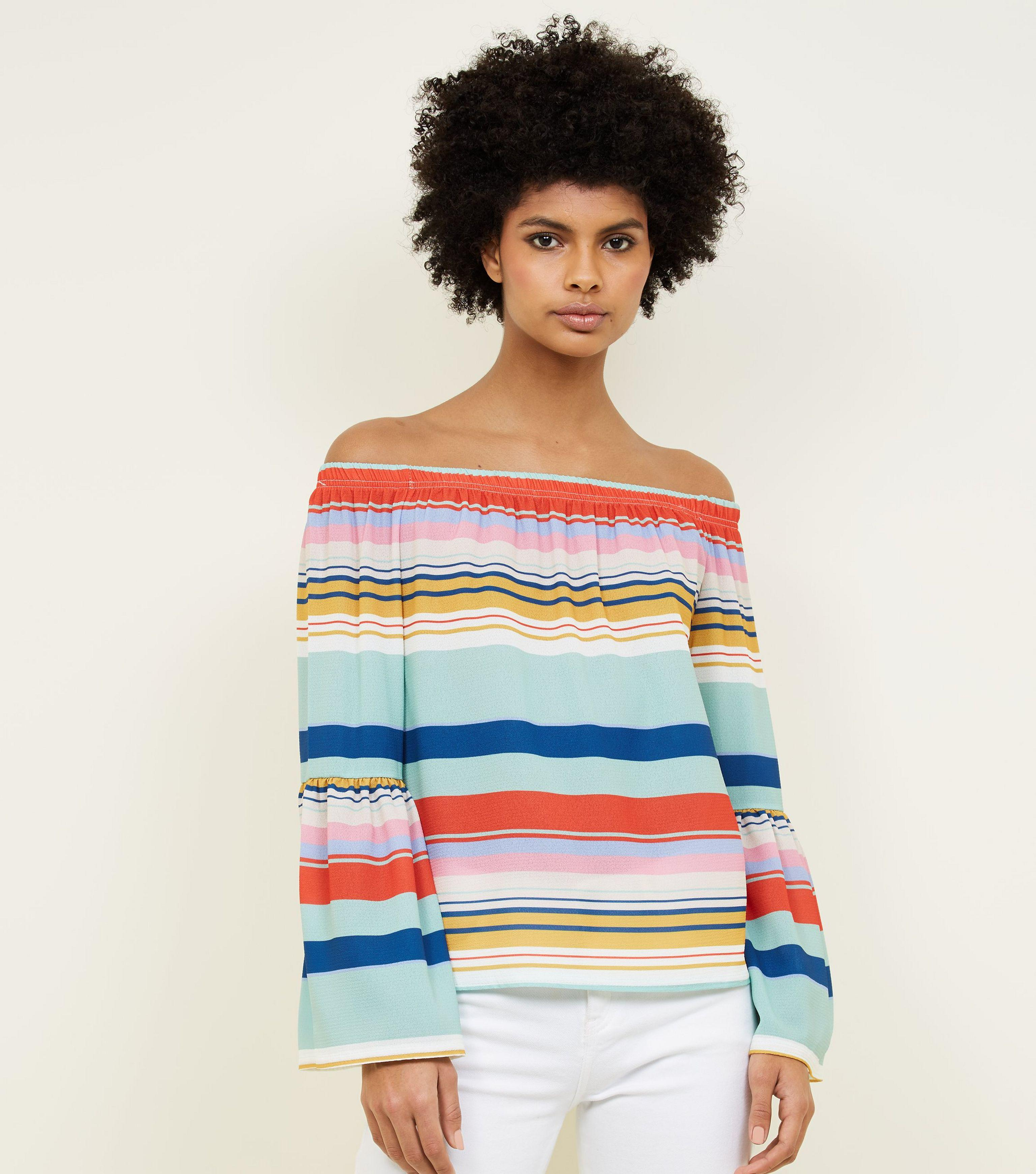 b5bb2f6cc65 ... Rainbow Stripe Bell Sleeve Bardot Top - Lyst. View fullscreen