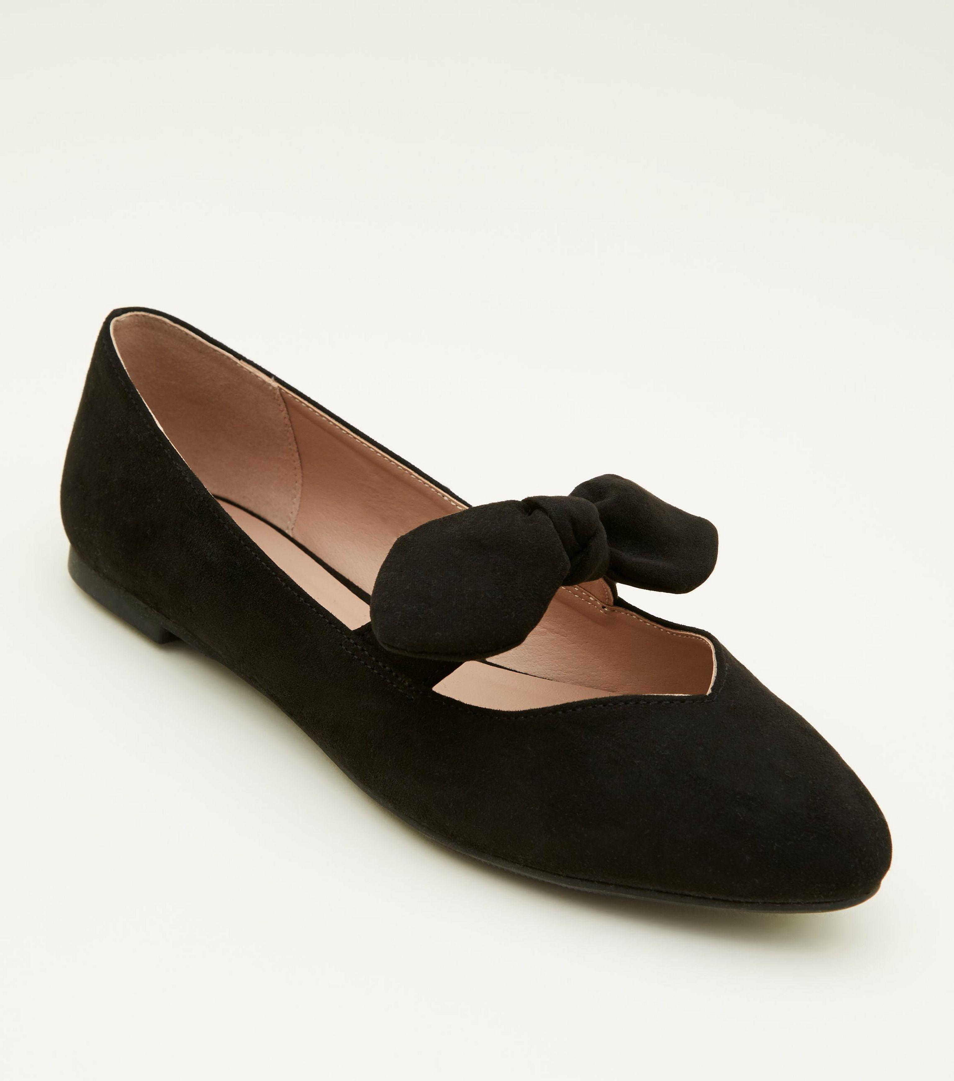 10b7e317d6 New Look Girls Black Suedette Bow Front Ballet Pumps in Black - Lyst