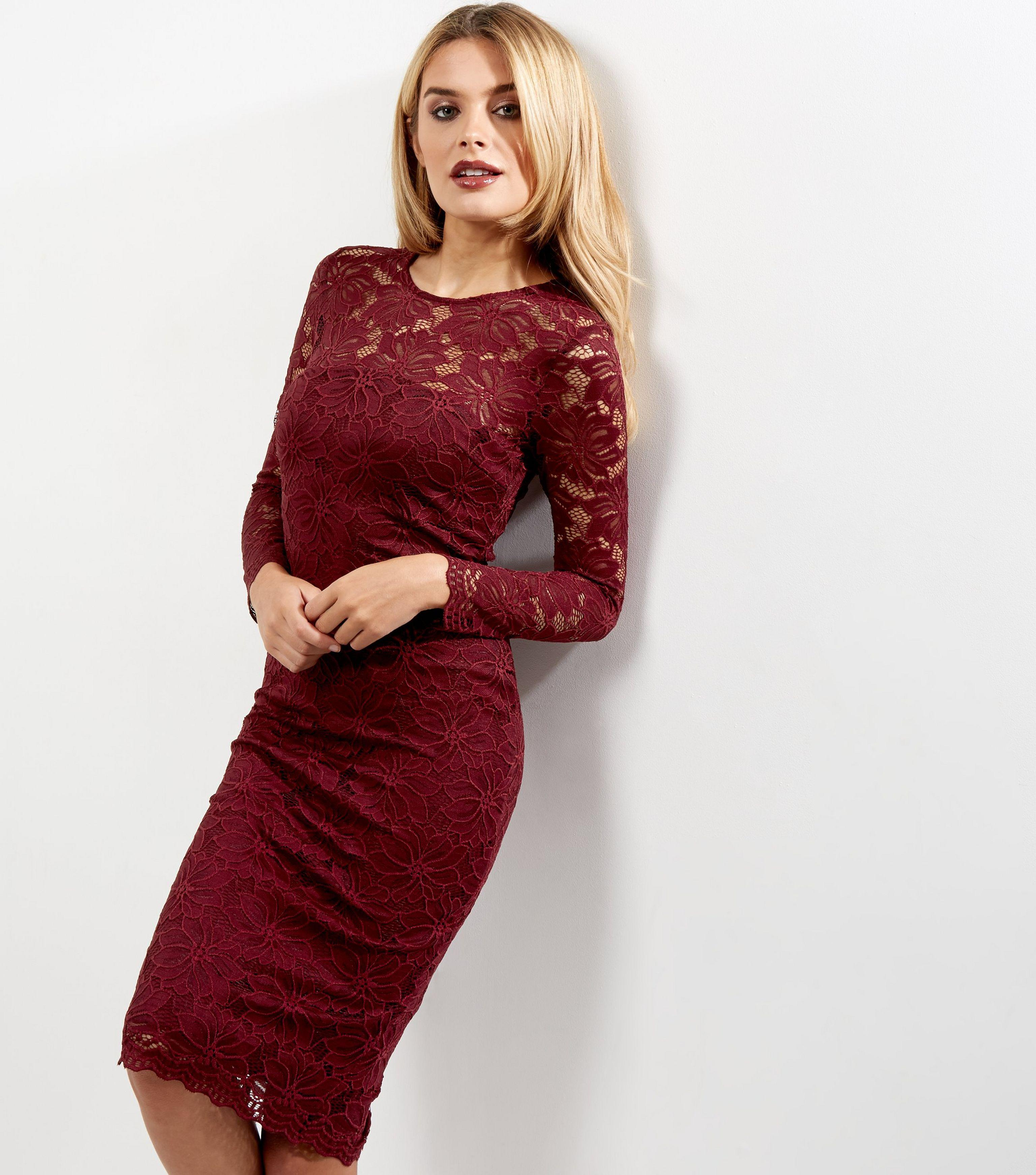 e1bf616739 AX Paris Dark Red Lace Long Sleeve Midi Dress in Red - Lyst