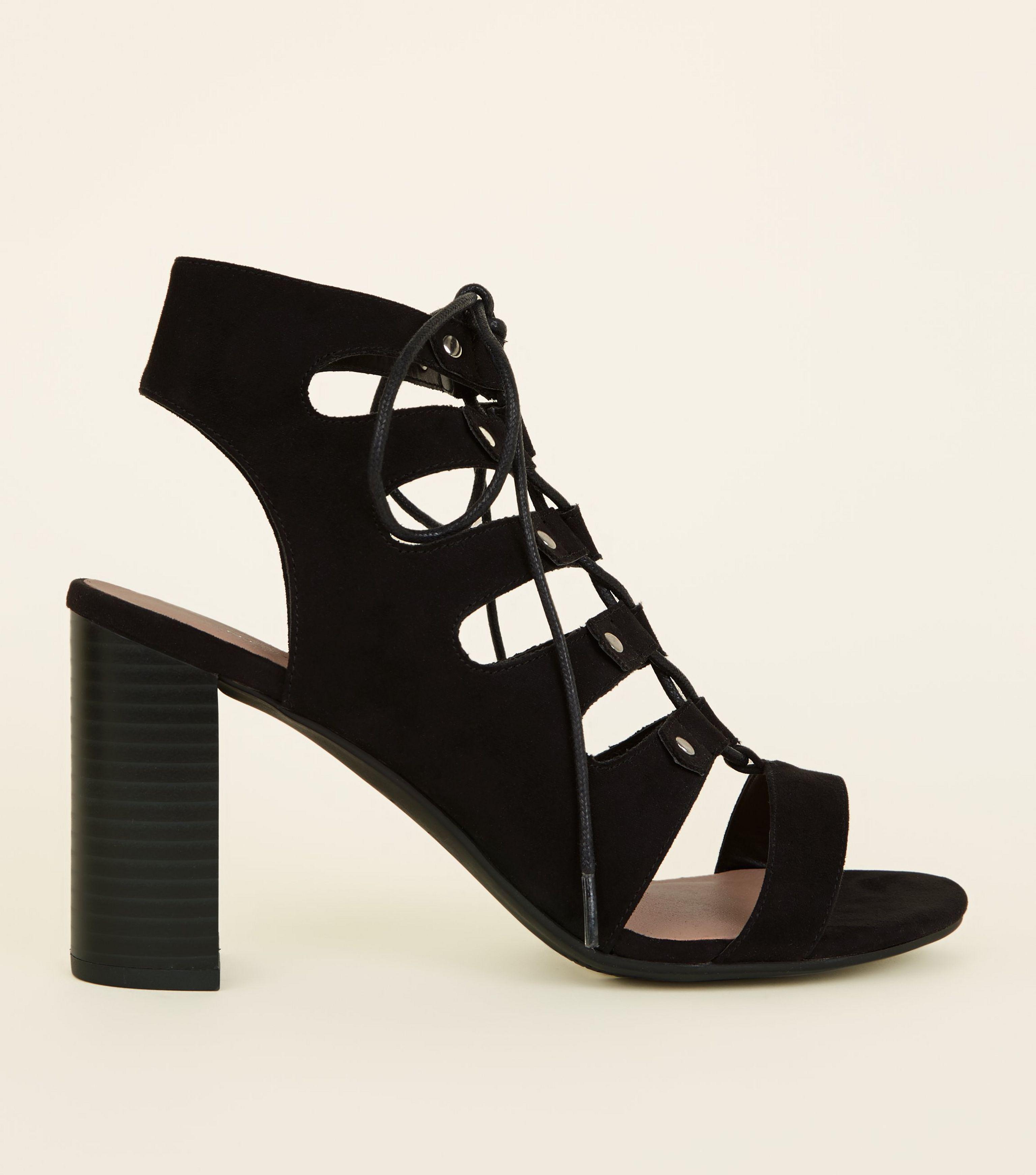3bfd400c326e New Look Wide Fit Black Suedette Block Heel Ghillie Sandals in Black ...