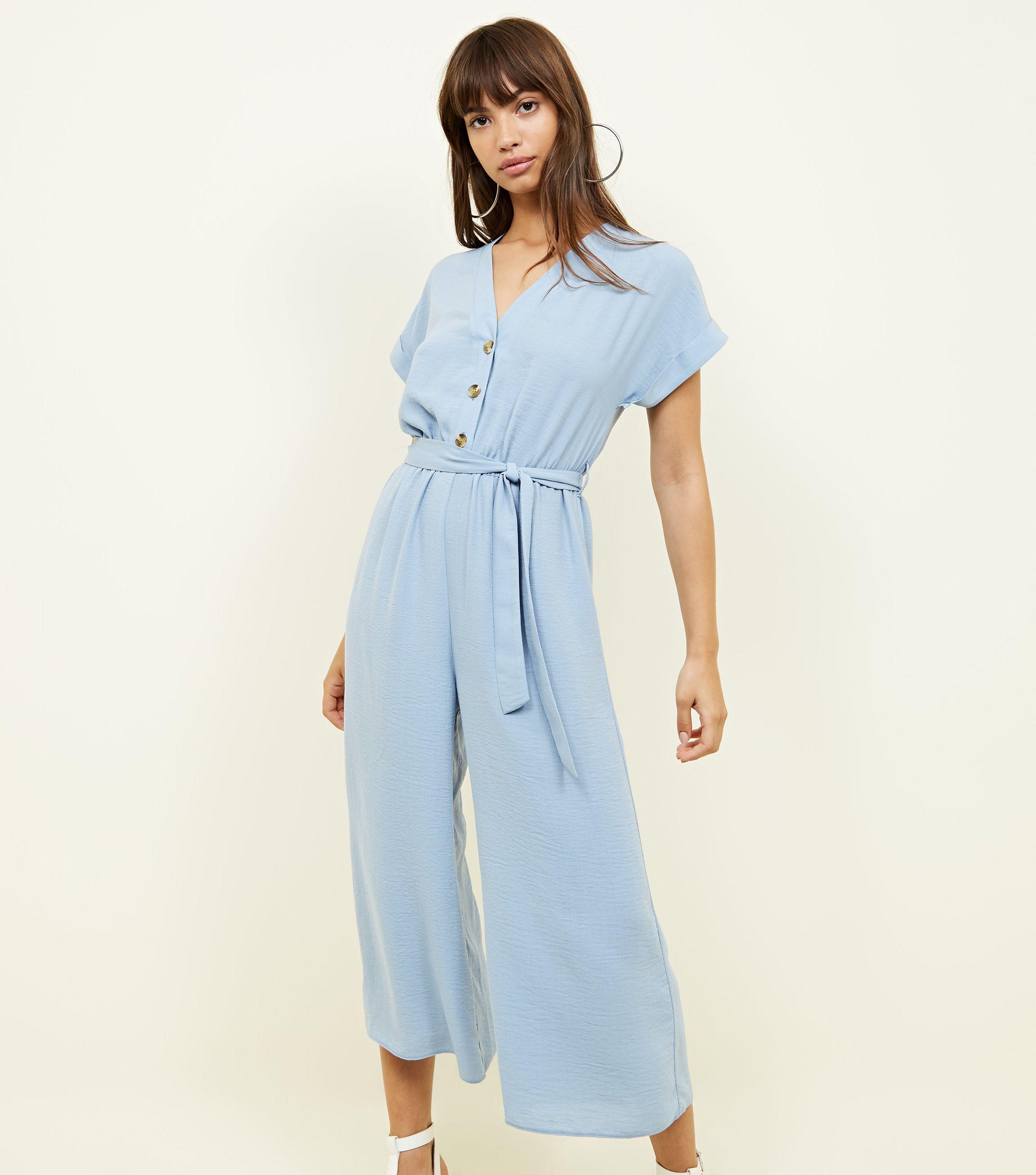 eaabb14650 New Look Blue Linen-look Button Up Culotte Jumpsuit in Blue - Lyst