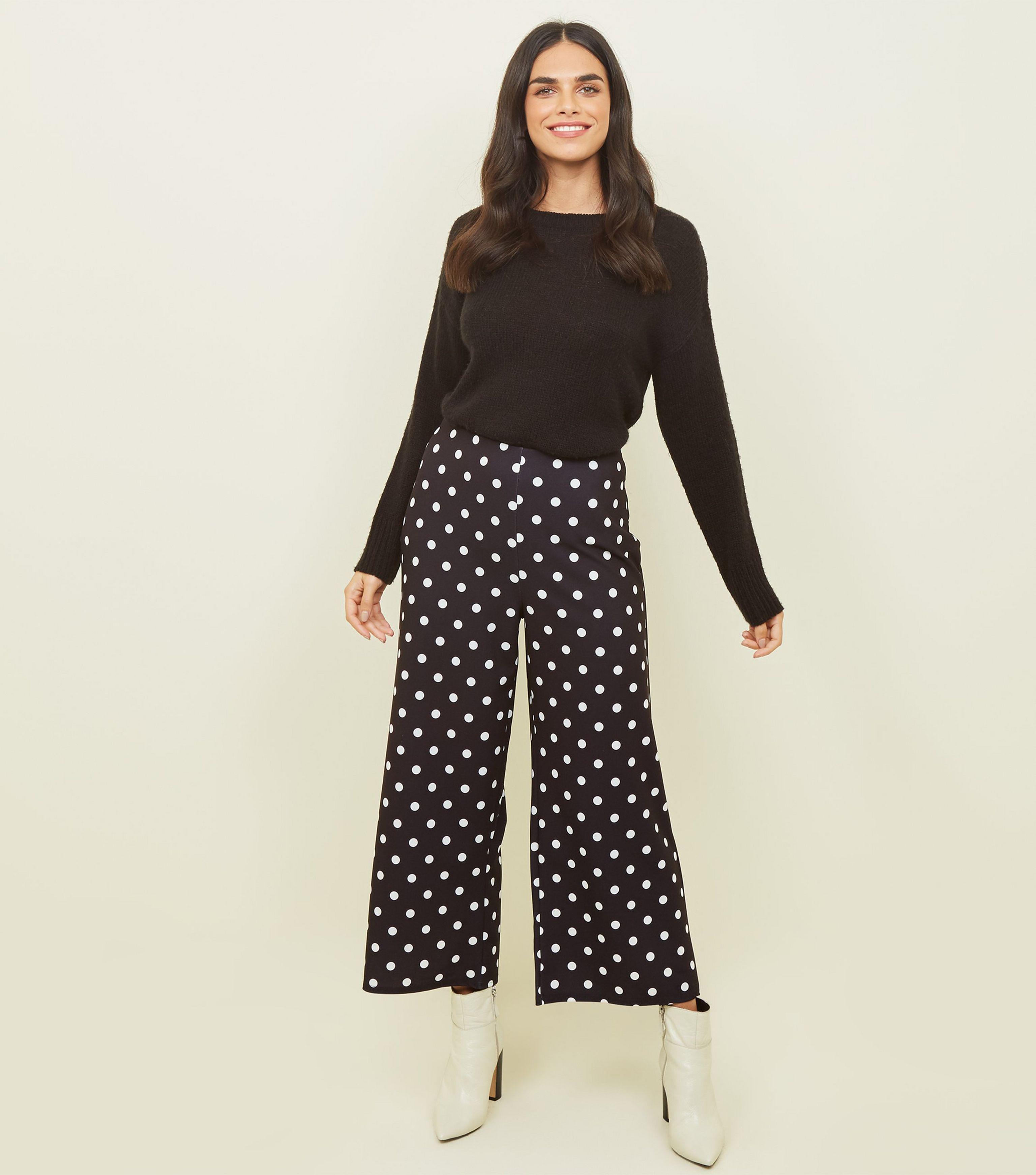 e17abd7e06b New Look Tall Black Spot Print Cropped Trousers in Black - Lyst
