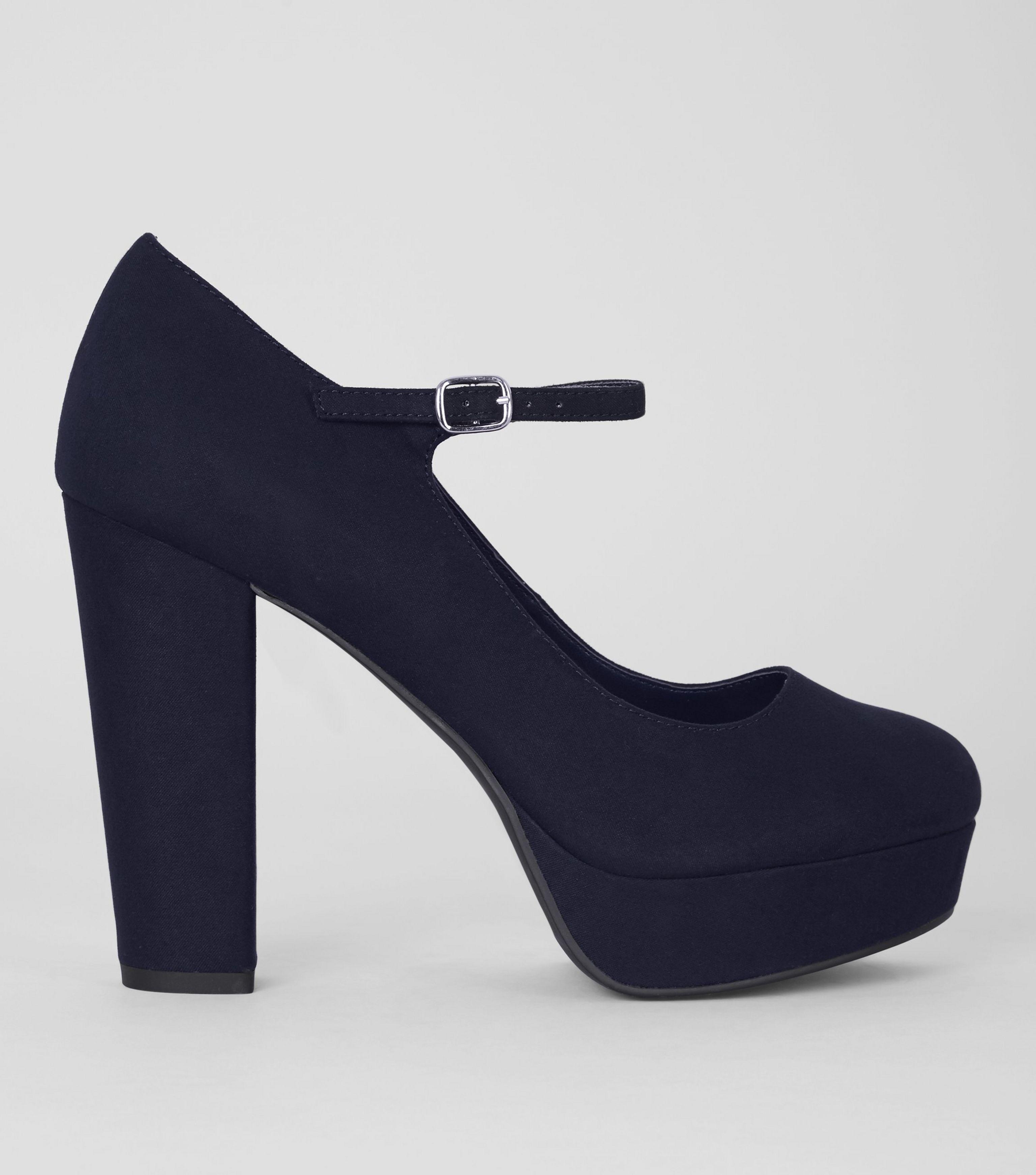 166dd37232e1 New Look Wide Fit Navy Suedette Platform Heels in Blue - Lyst